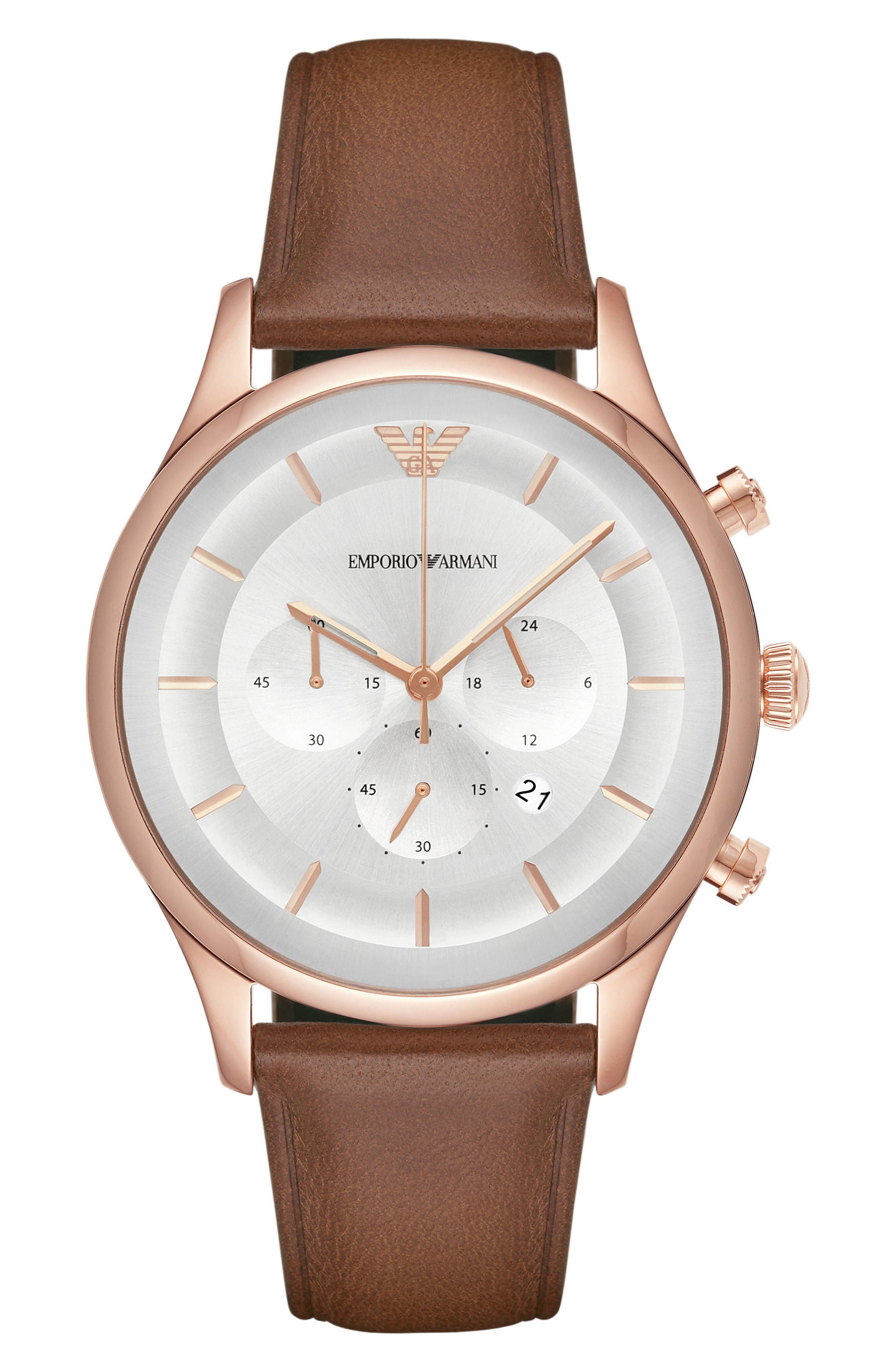 Chronograph Leather Strap Watch, 43mm,                         Main,                         color, Silver/ Brown