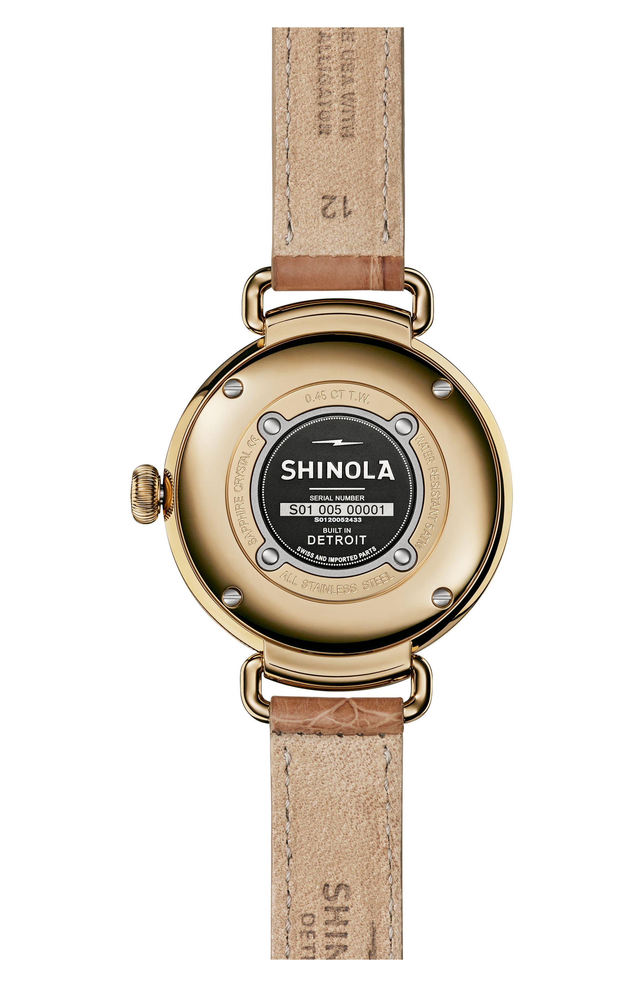 Alternate Image 2  - Shinola Canfield Diamond Alligator Strap Watch, 32mm