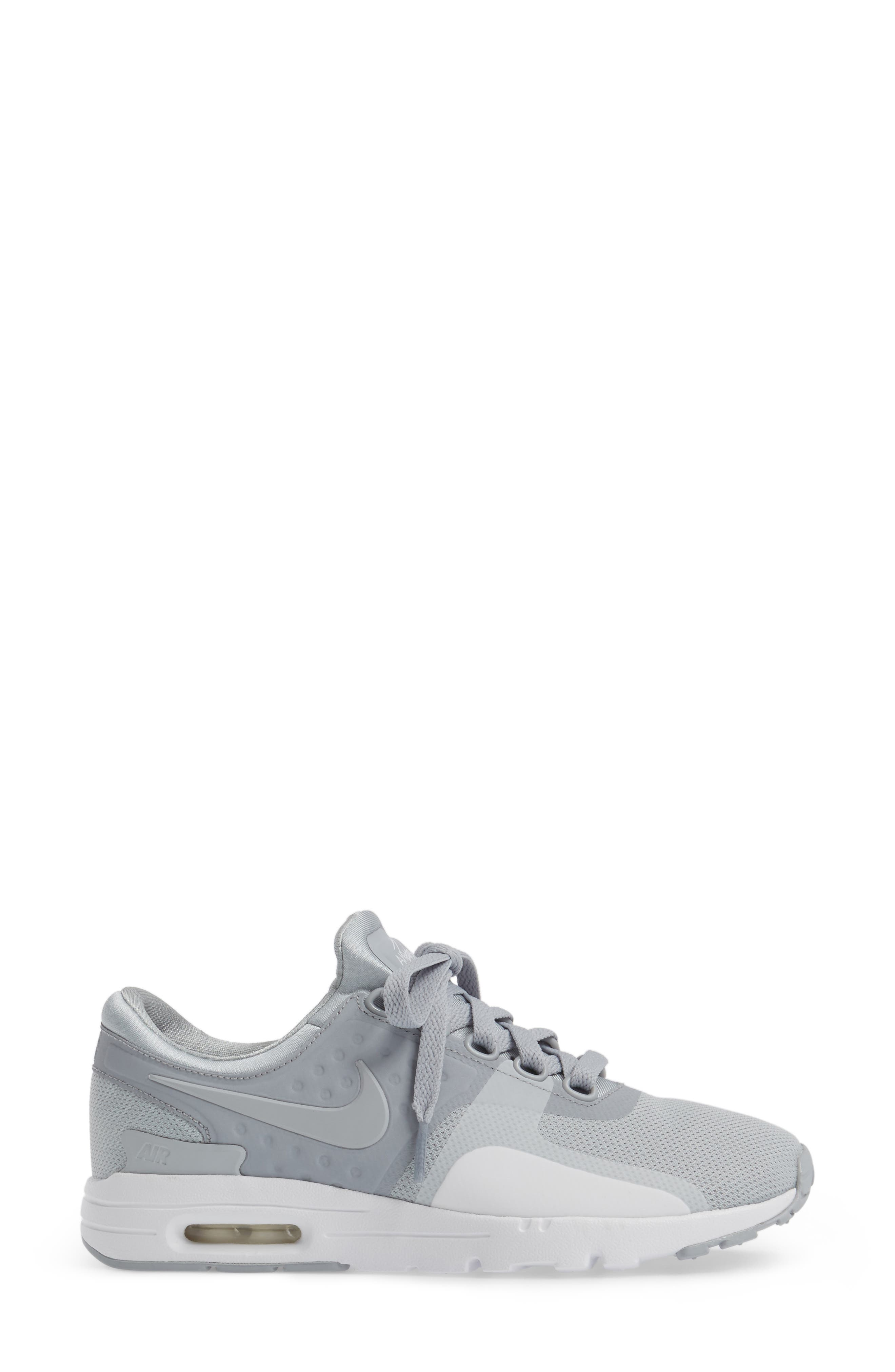 Air Max Zero Sneaker,                             Alternate thumbnail 3, color,                             Wolf Grey/ Wolf Grey/ White