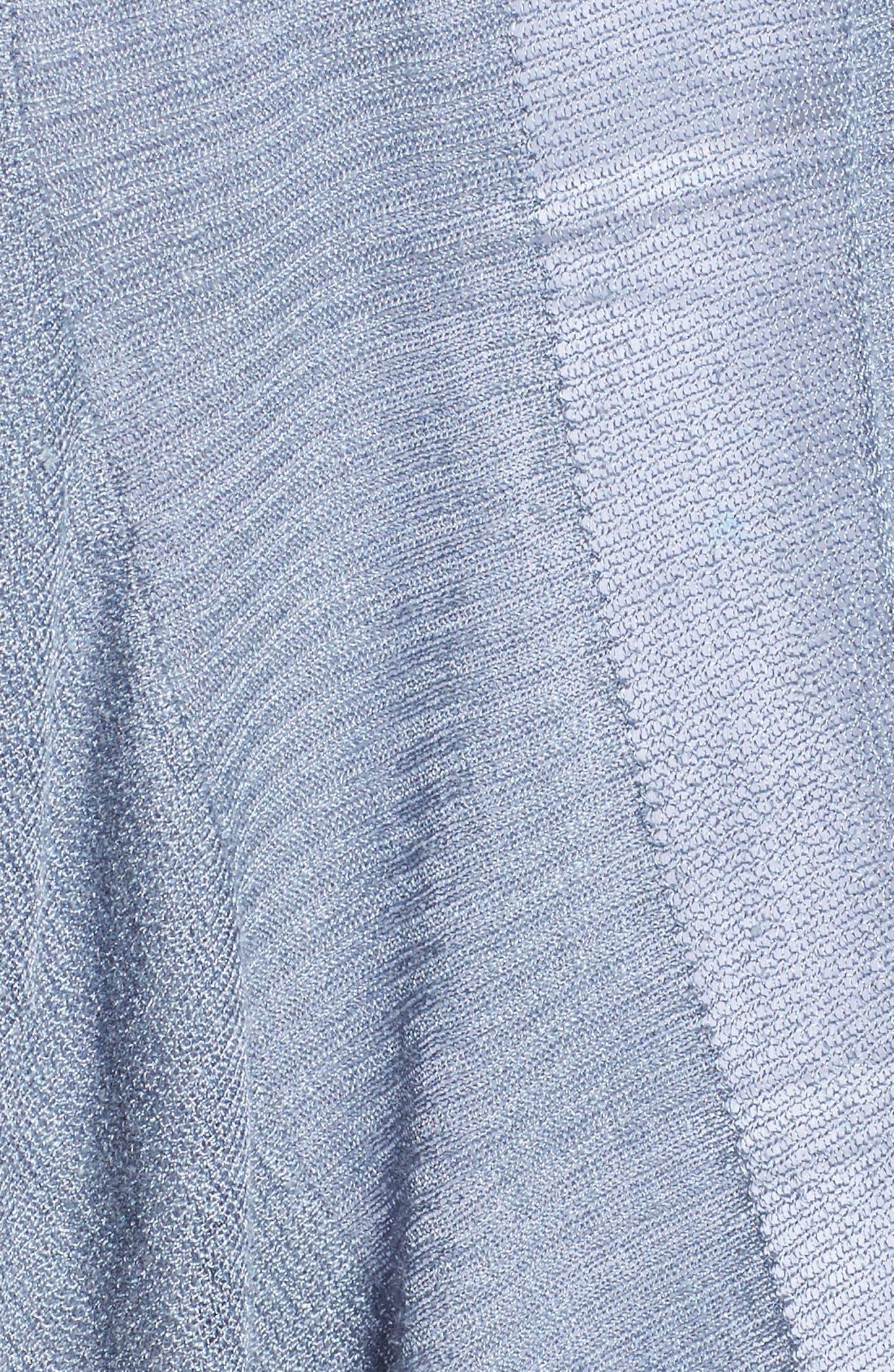 Ruffle Wave Linen Blend Cardigan,                             Alternate thumbnail 5, color,                             Light Indigo