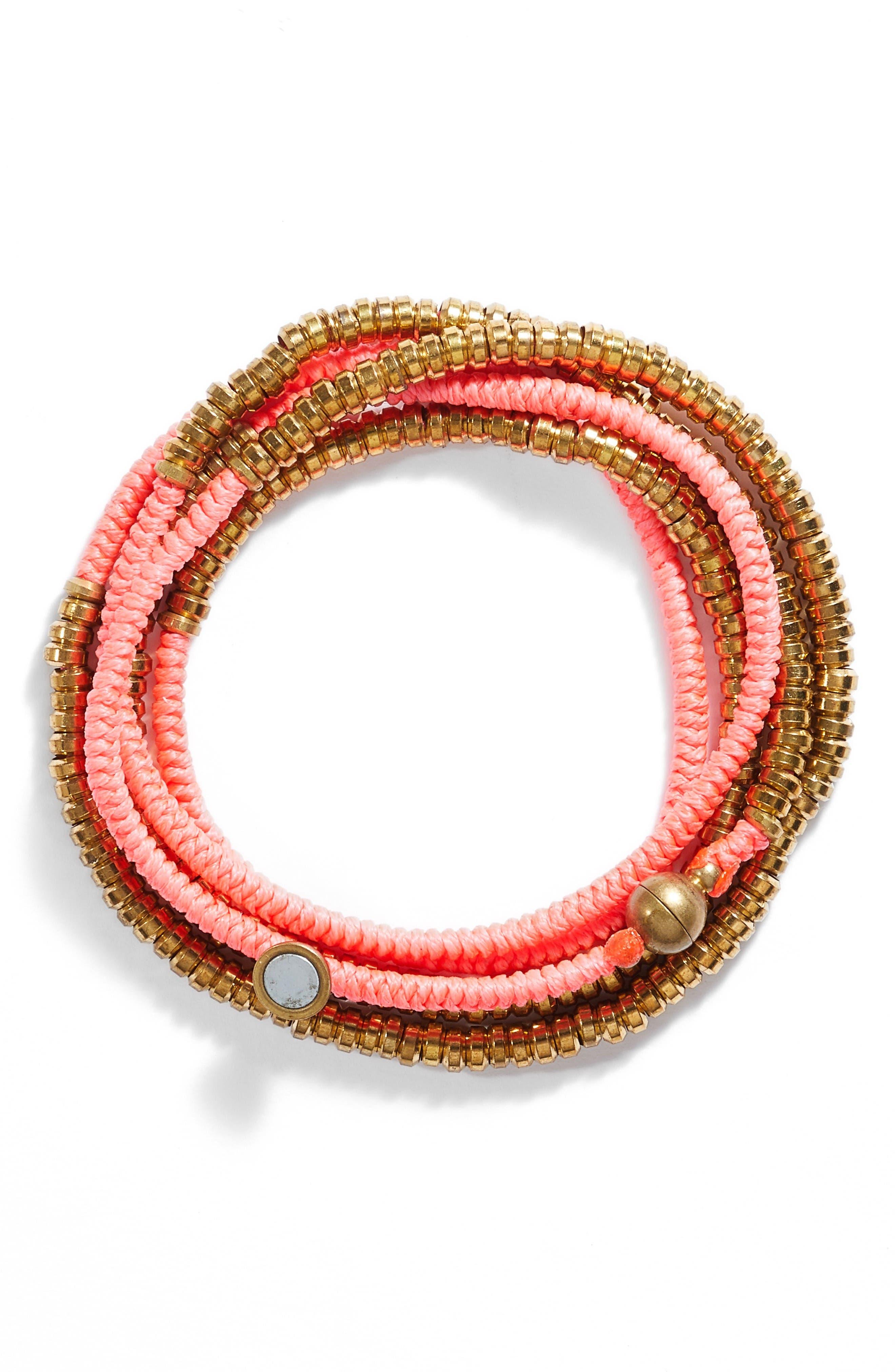 Beaded Wrap Bracelet,                             Main thumbnail 1, color,                             Pink/ Gold