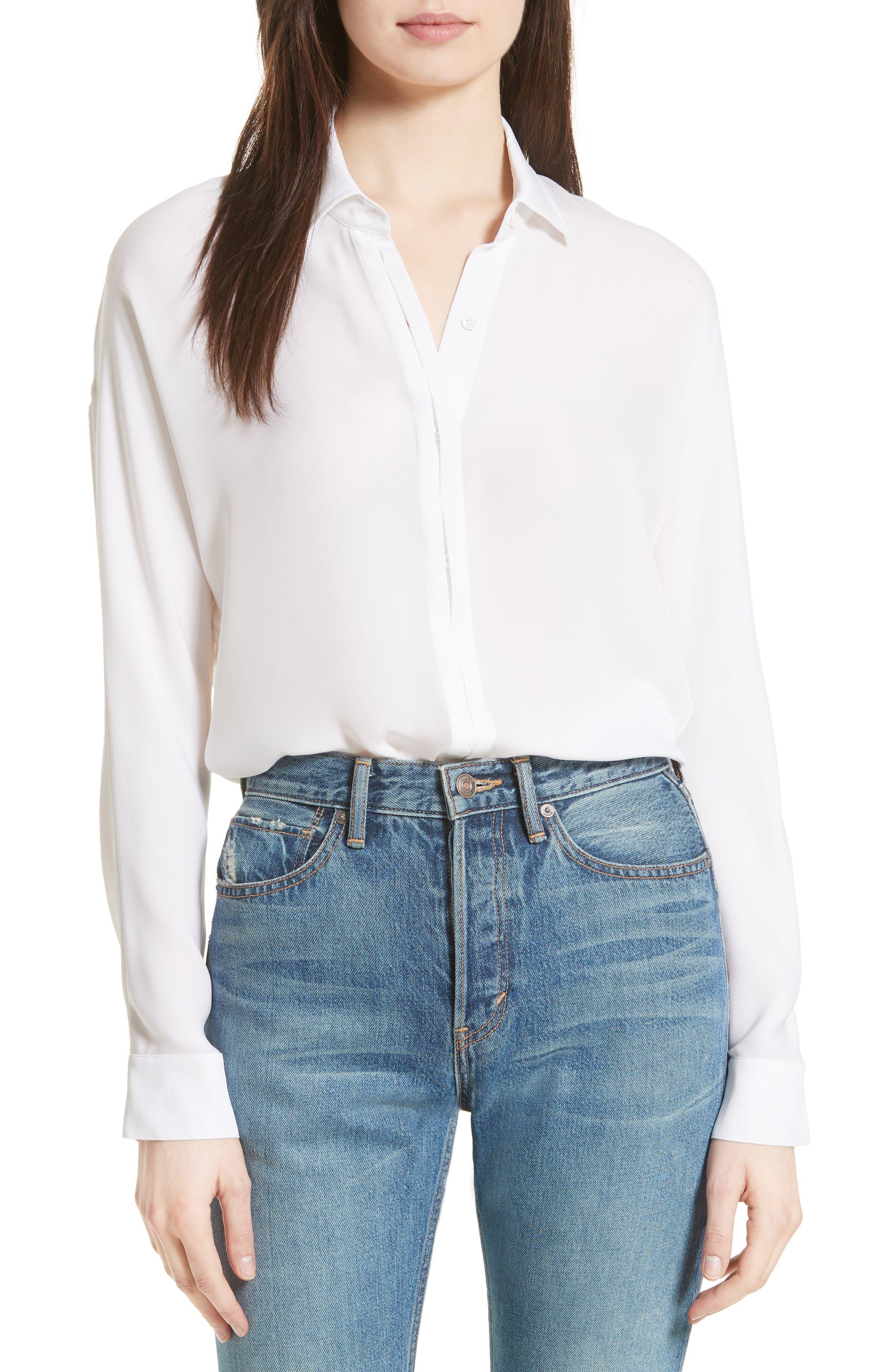 Silk Blouse,                         Main,                         color, White
