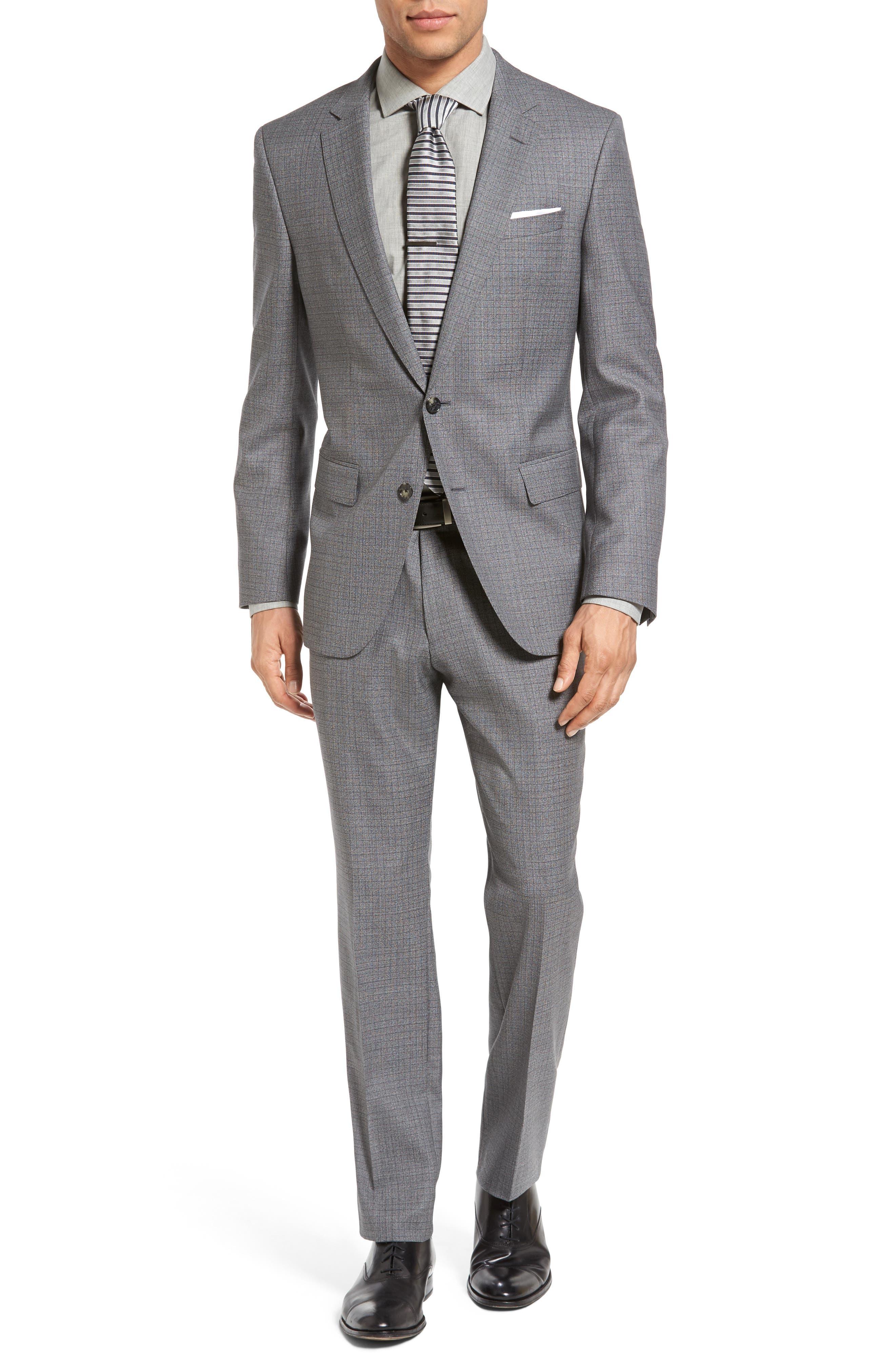 BOSS Huge/Genius Trim Fit Check Wool Suit