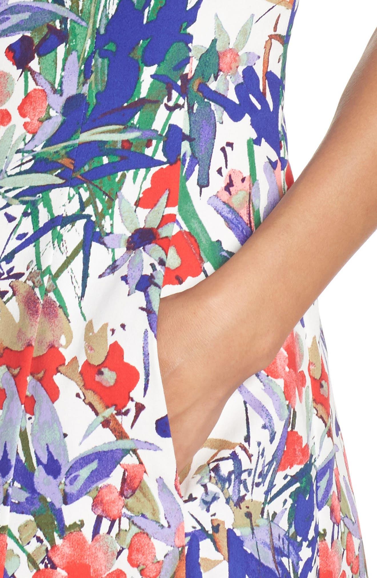 Cottage Garden Fit & Flare Dress,                             Alternate thumbnail 4, color,                             Soft White/ Coral/ Purple