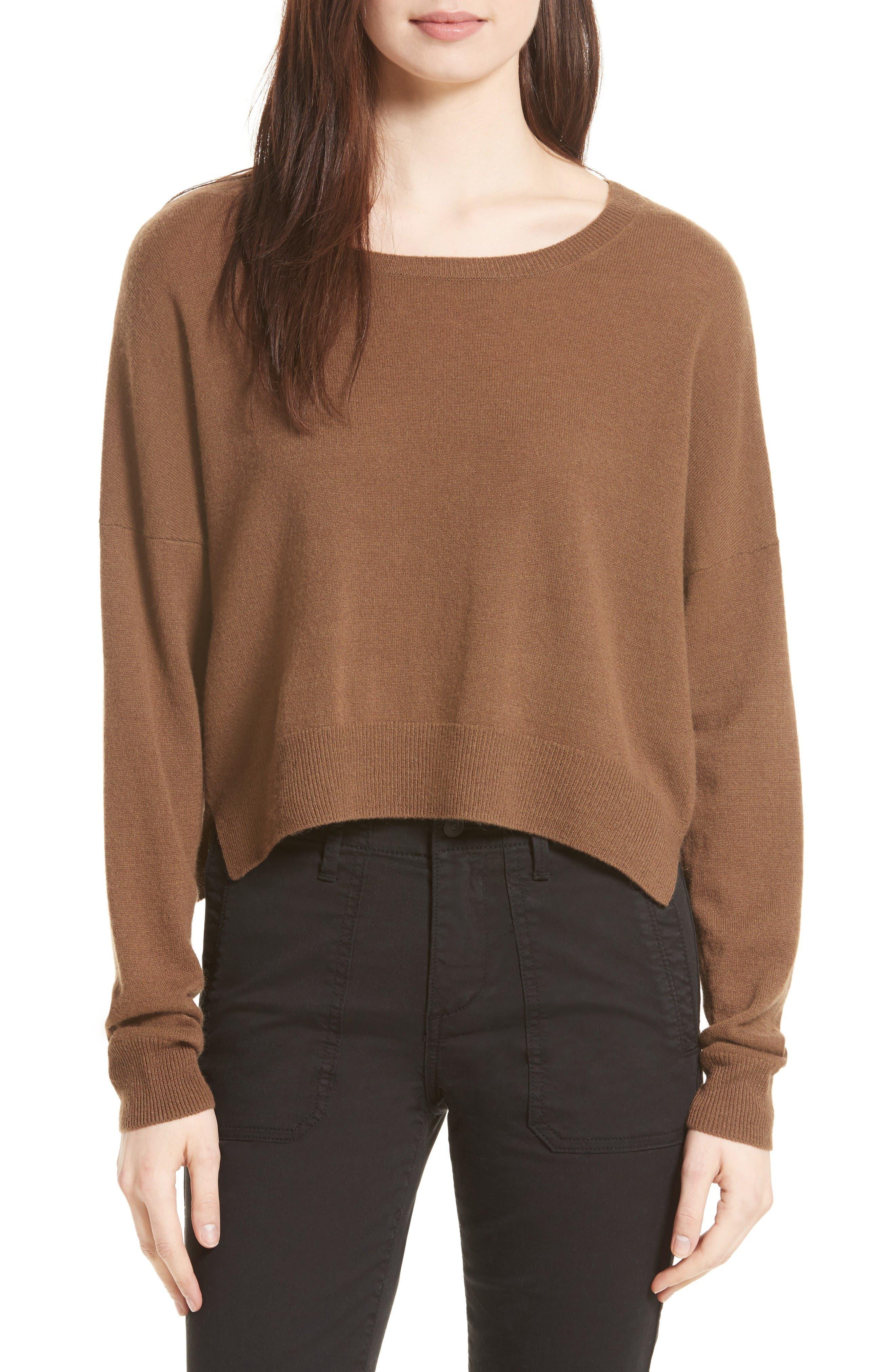 Crop Cashmere Sweater,                         Main,                         color, Walnut