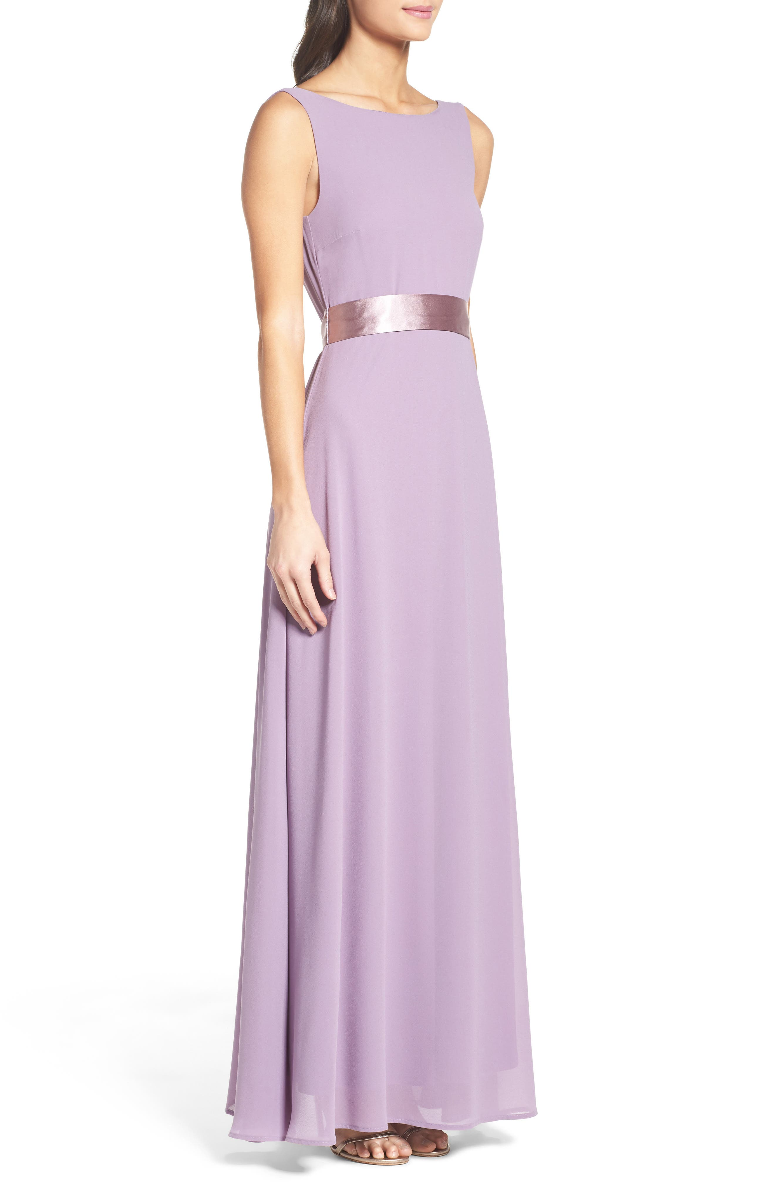 Belted V-Back Chiffon Gown,                             Alternate thumbnail 3, color,                             Dusty Violet