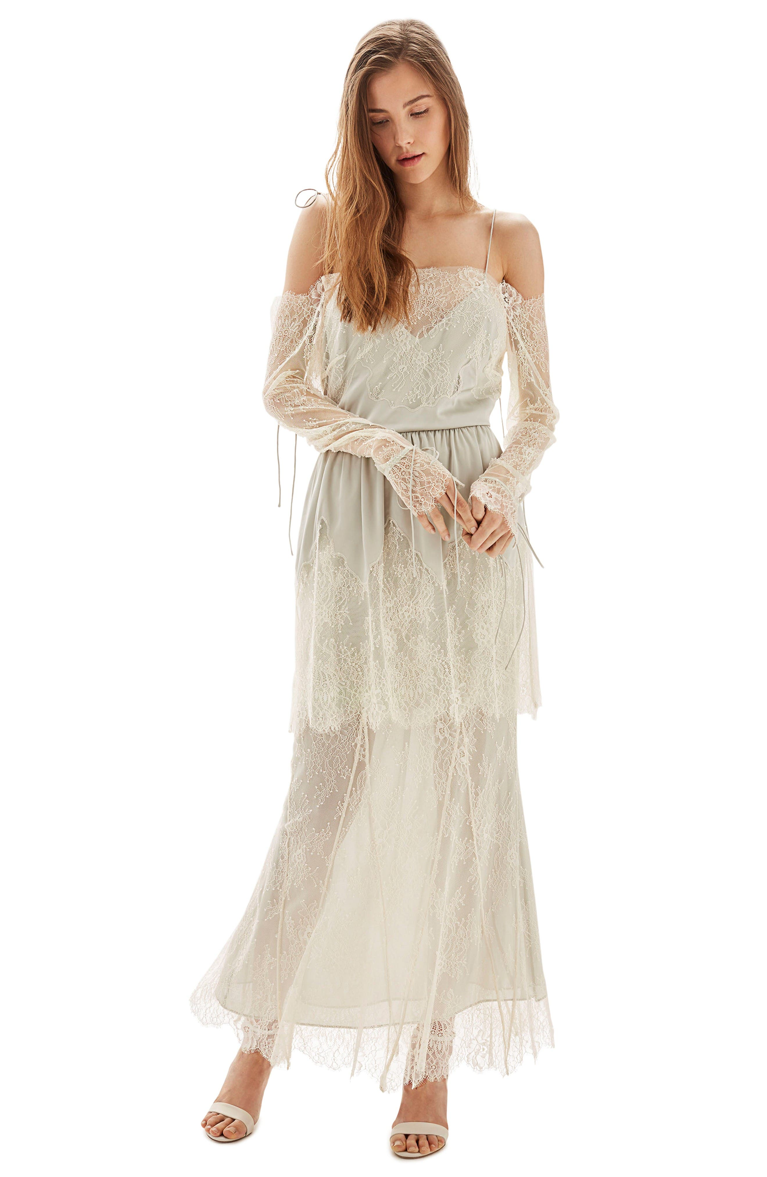 Bride Bardot Lace Off the Shoulder Gown,                             Main thumbnail 1, color,                             Ivory