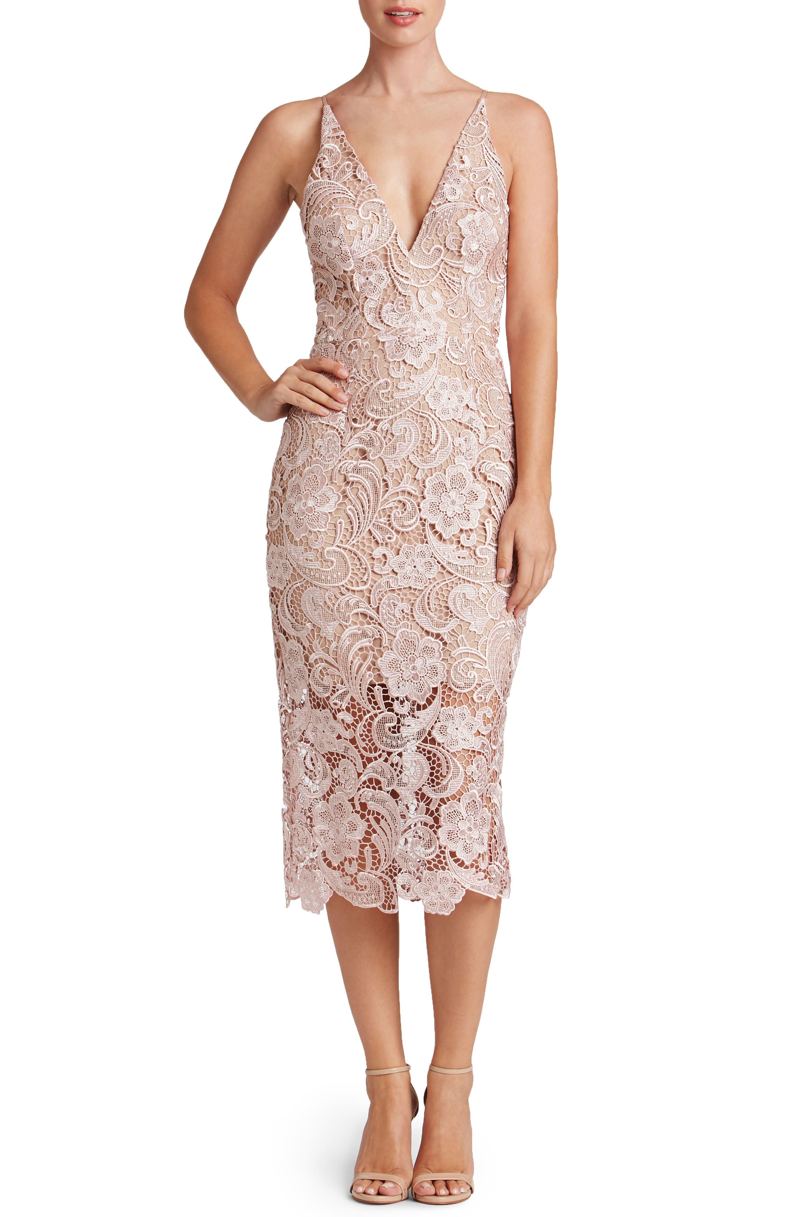 'Marie' Lace Midi Dress,                             Main thumbnail 1, color,                             Rose