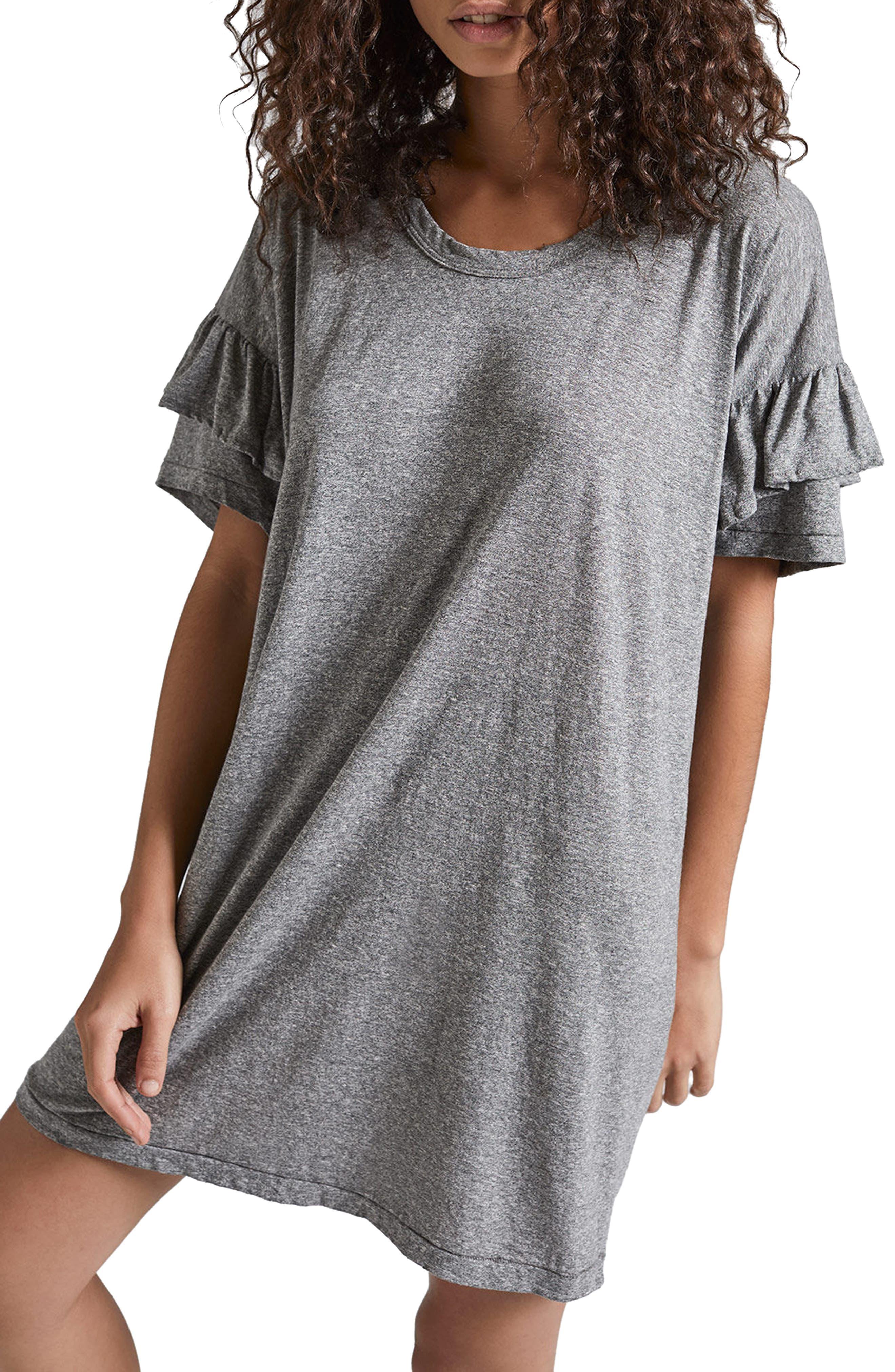 Ruffle Roadie T-Shirt Dress,                             Main thumbnail 1, color,                             Heather Grey