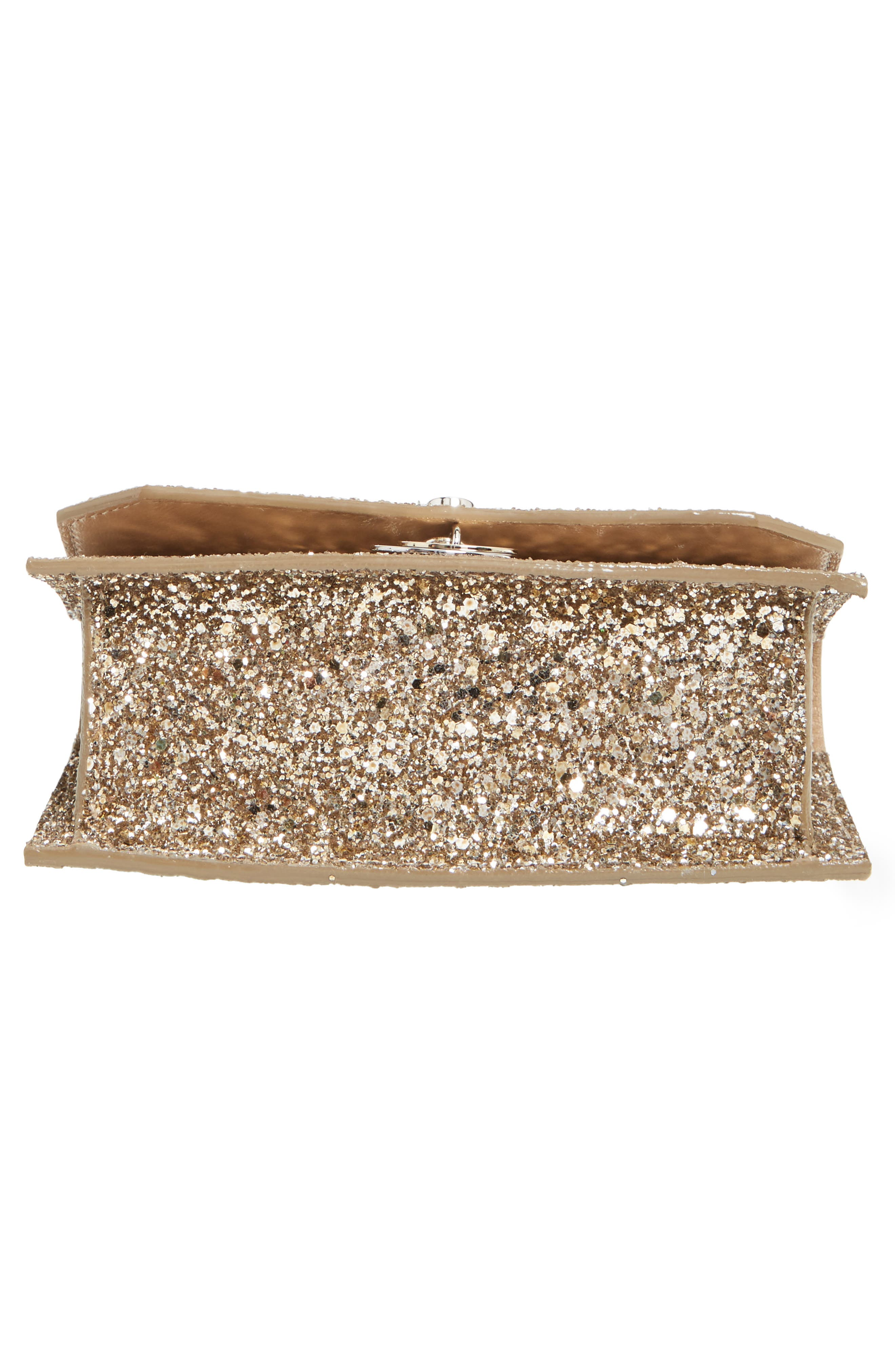 Finley Shadow Glitter Shoulder Bag,                             Alternate thumbnail 6, color,                             Antique Gold