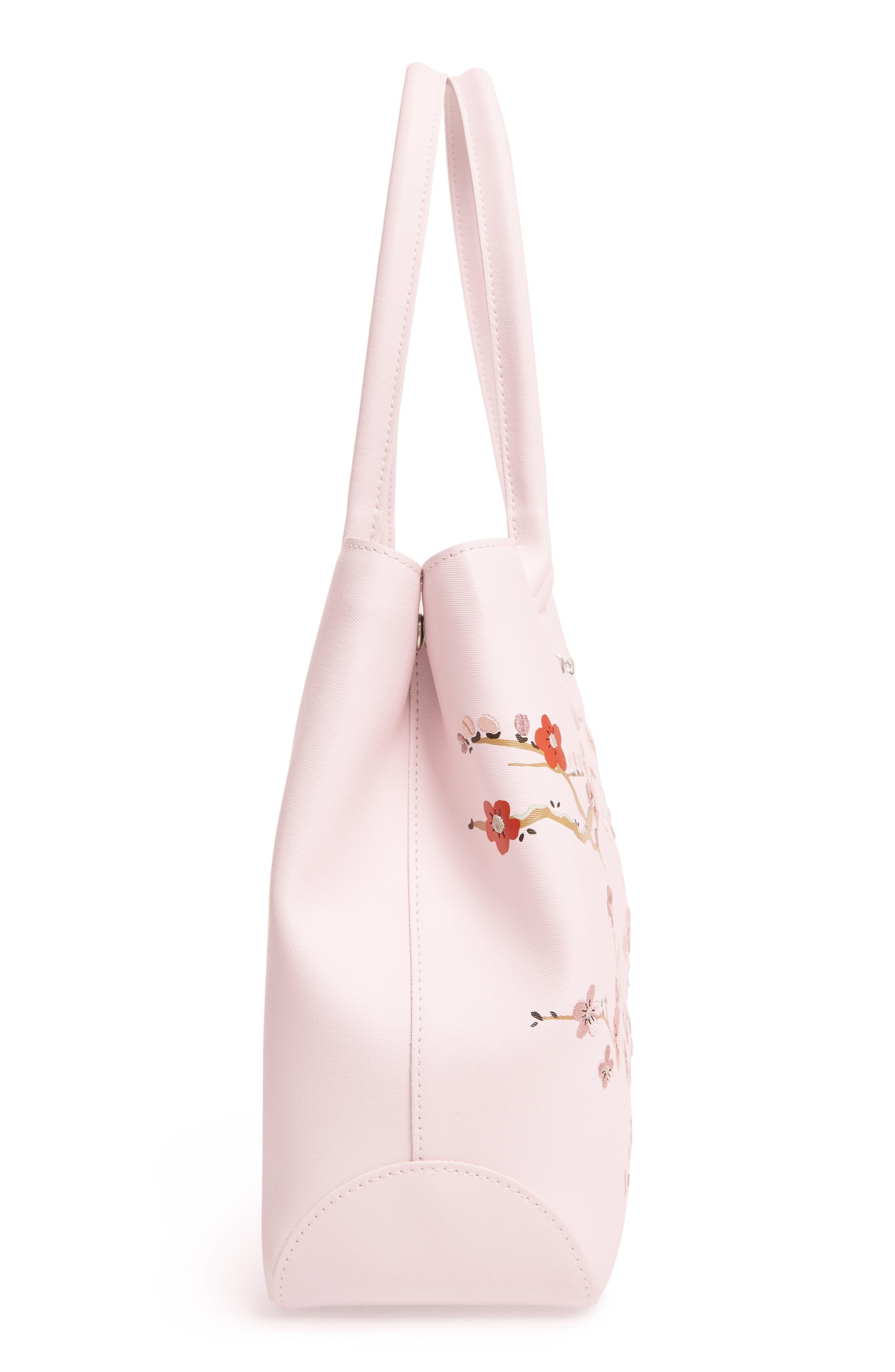Alternate Image 5  - Longchamp Roseau Sakura Embroidered Leather Shoulder Tote