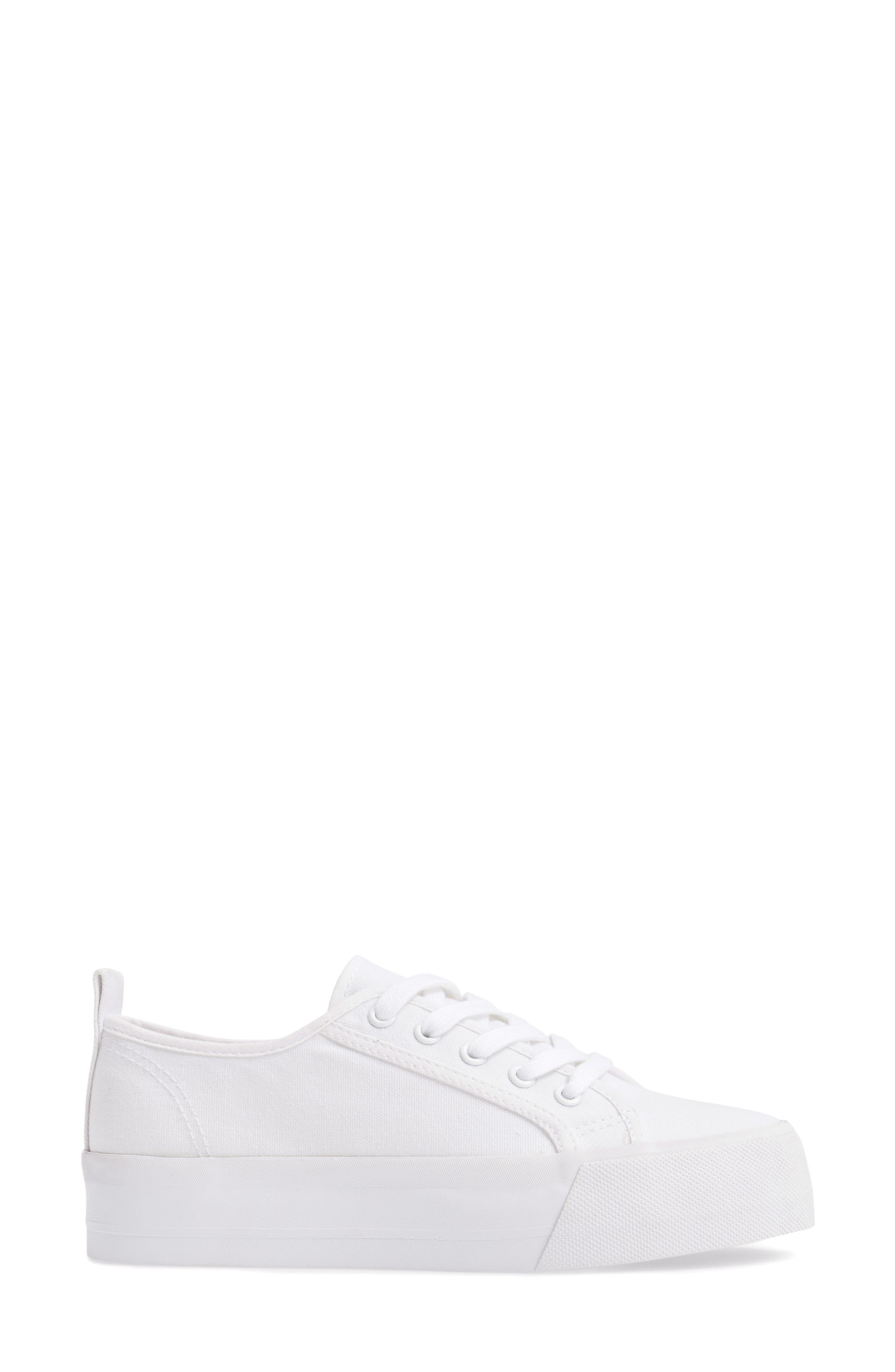 Sneak Platform Sneaker,                             Alternate thumbnail 3, color,                             White Canvas