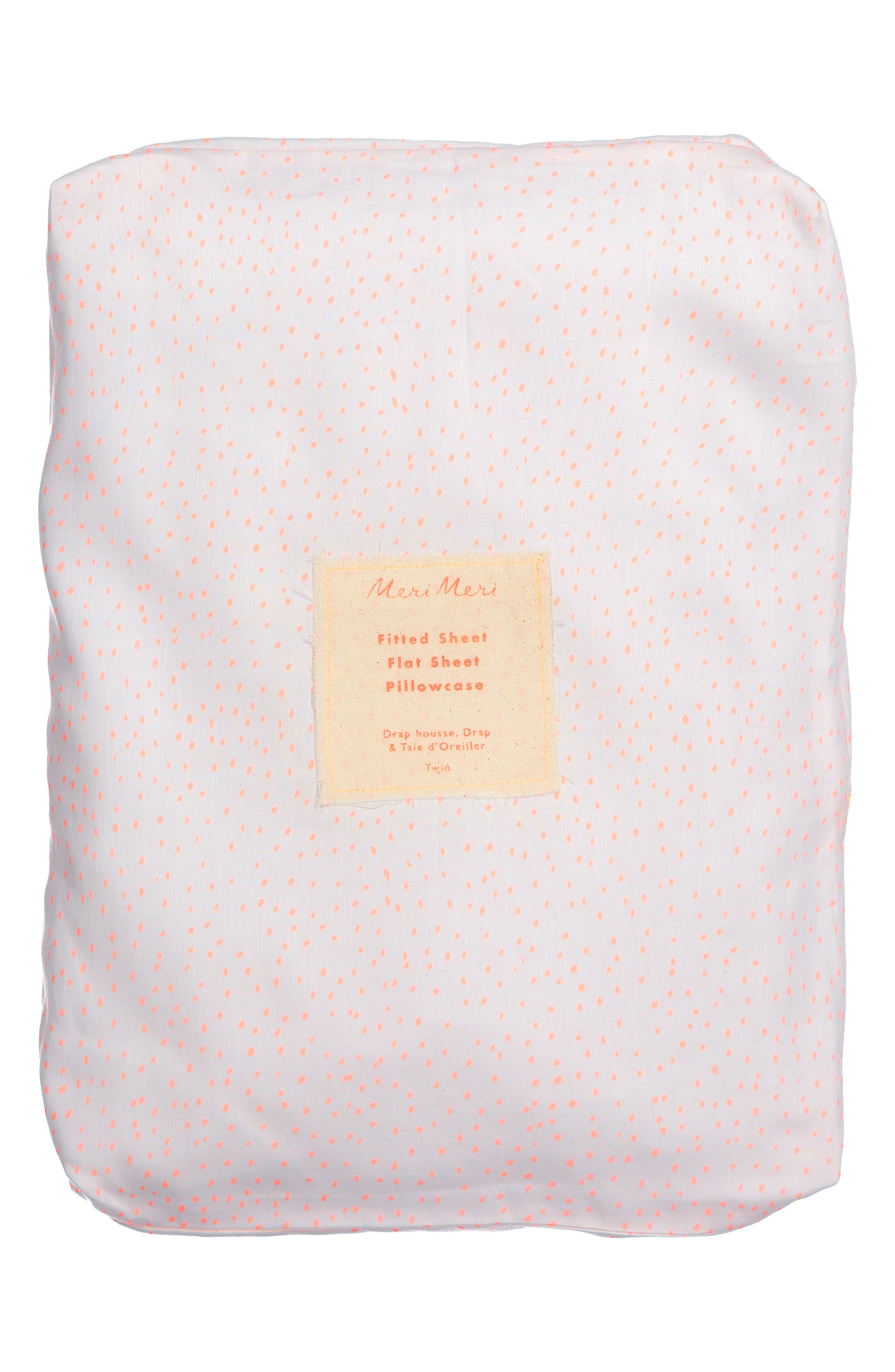 Twin Sheet & Pillowcase Set,                             Alternate thumbnail 3, color,                             Coral