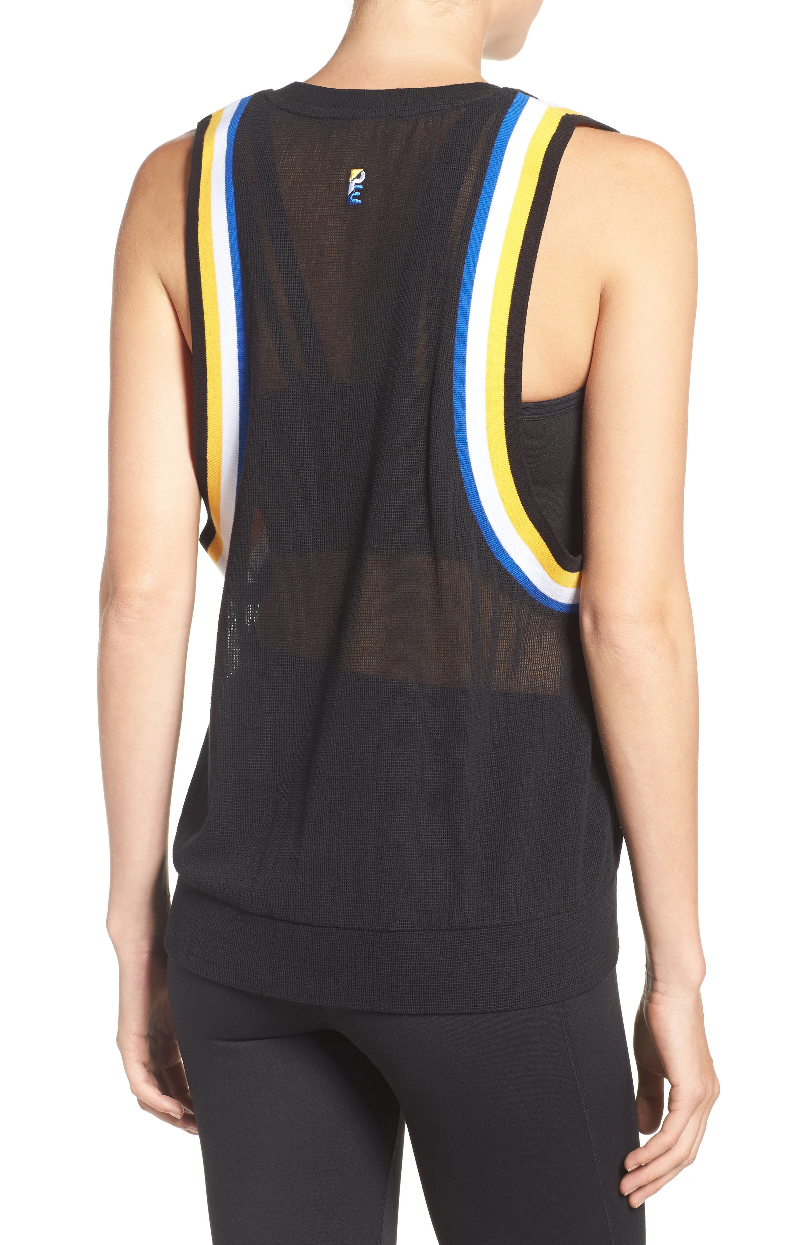P.E. Nation Fast Ball Mesh Tank,                             Alternate thumbnail 2, color,                             Black/ Multi
