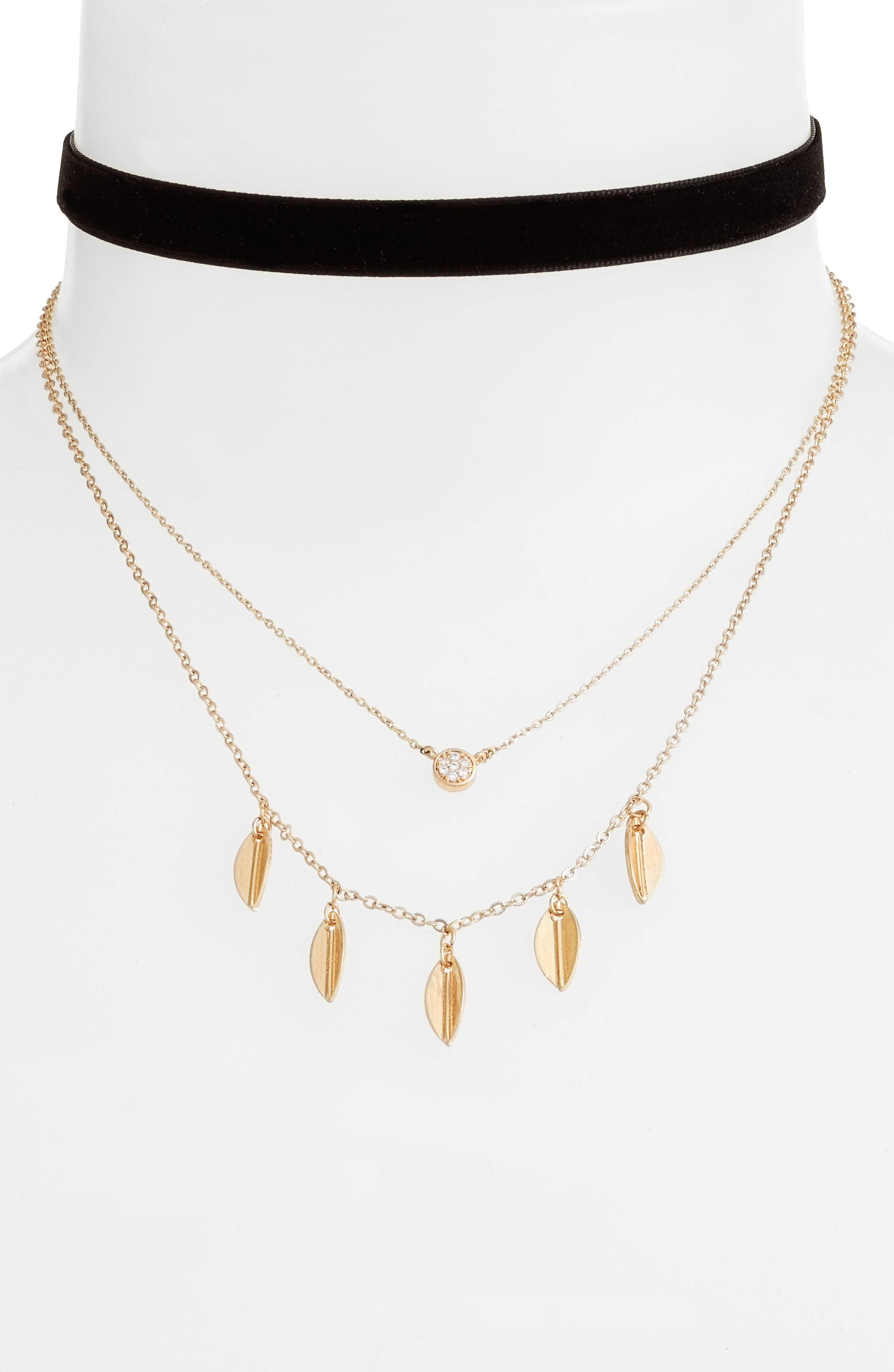 Momji Layered Choker Necklace,                             Main thumbnail 1, color,                             Black/ Gold