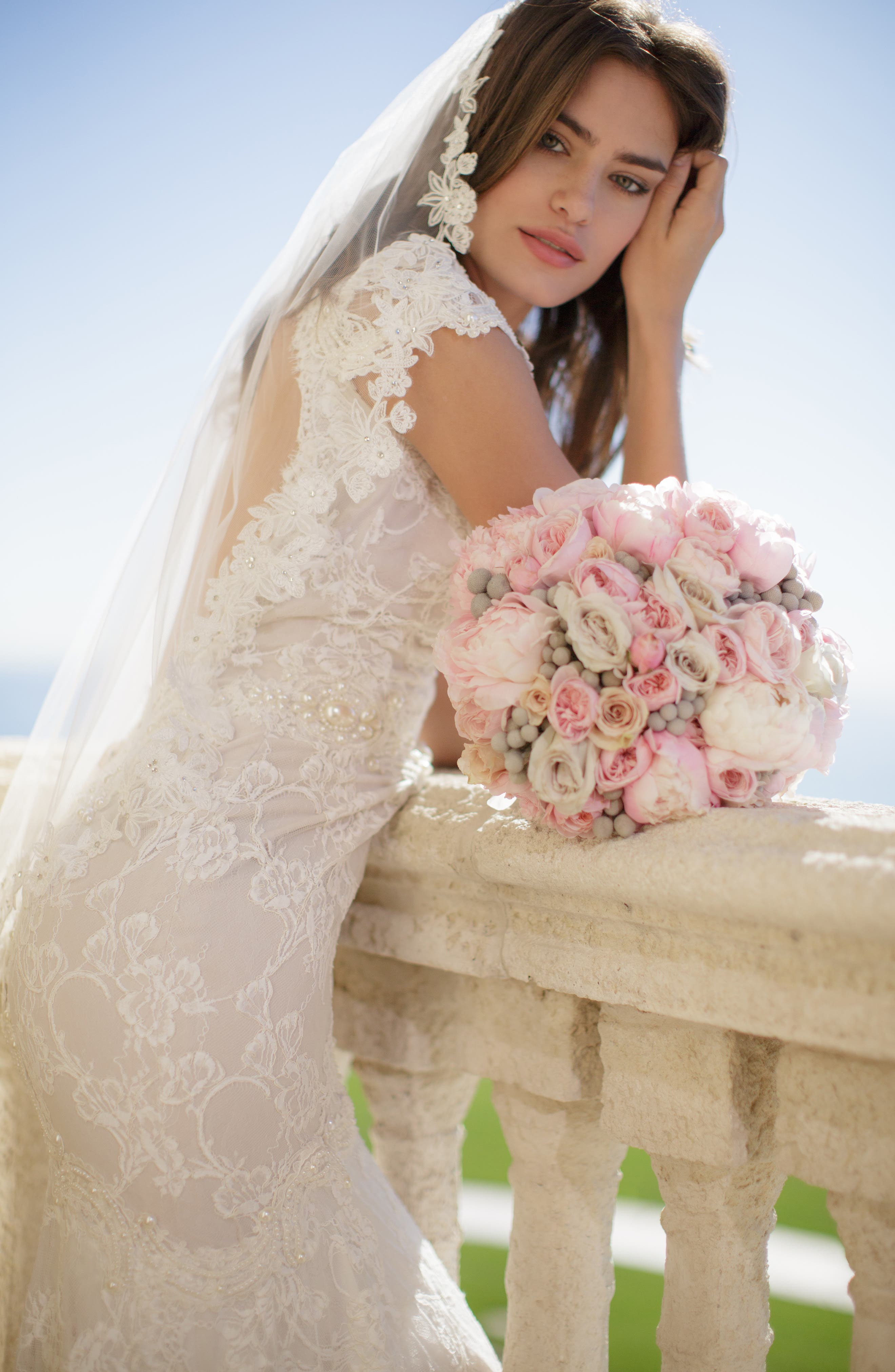 BRIDES & HAIRPINS Angelina Lace Trim Tulle Veil