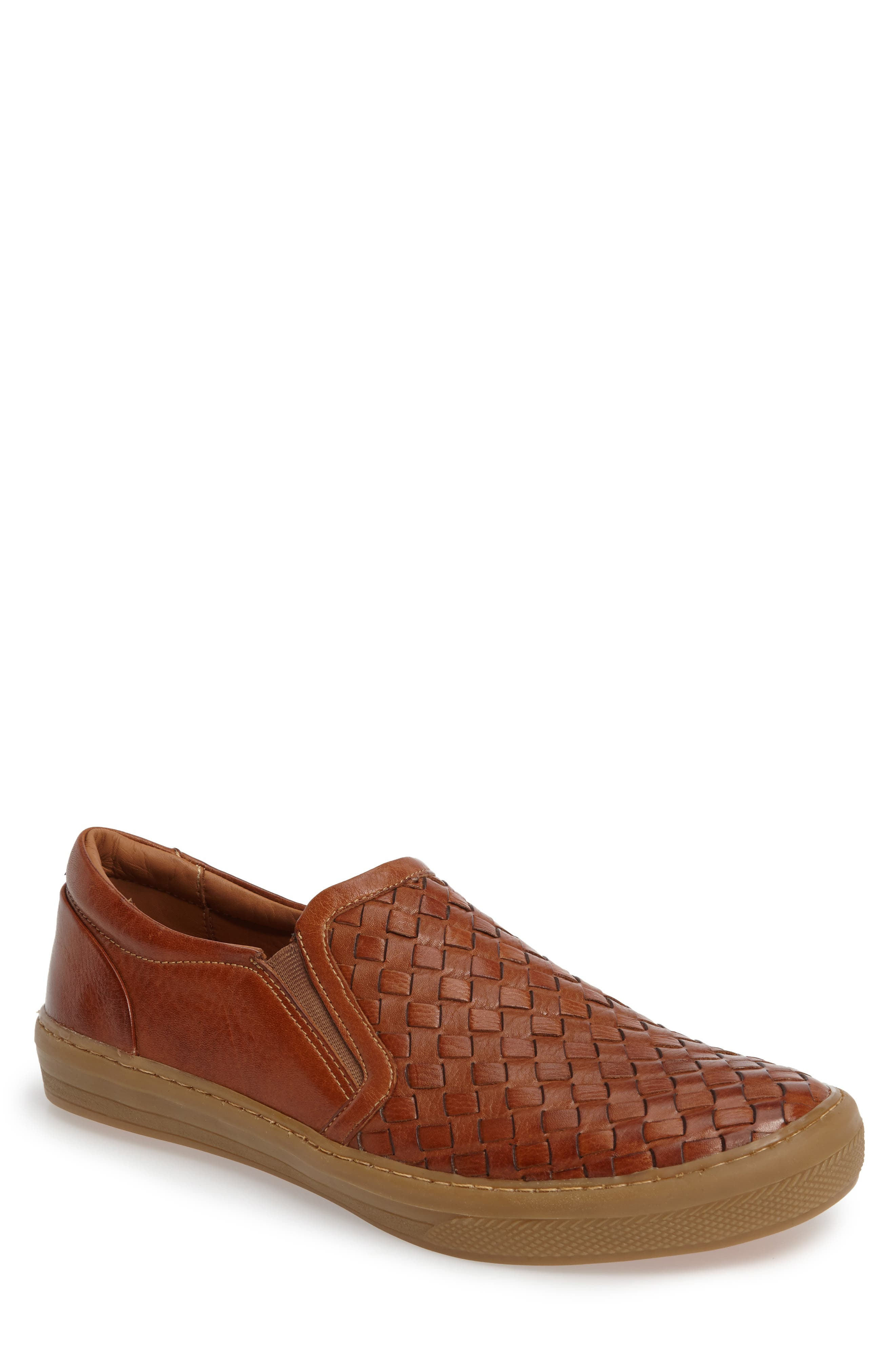Bastos Woven Slip-On,                             Main thumbnail 1, color,                             Cognac Leather