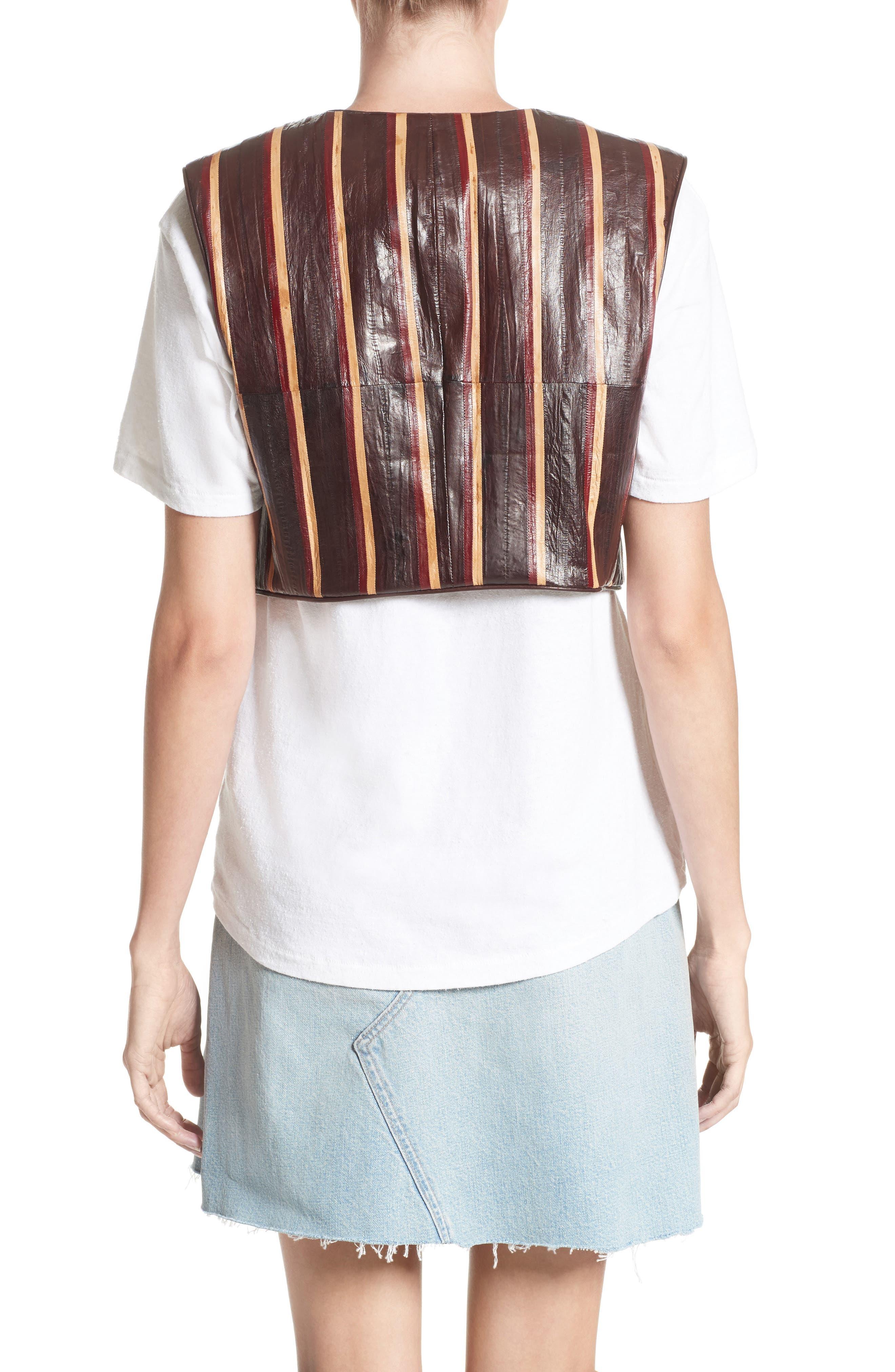 Striped Genuine Eelskin Vest,                             Alternate thumbnail 2, color,                             Oxblood