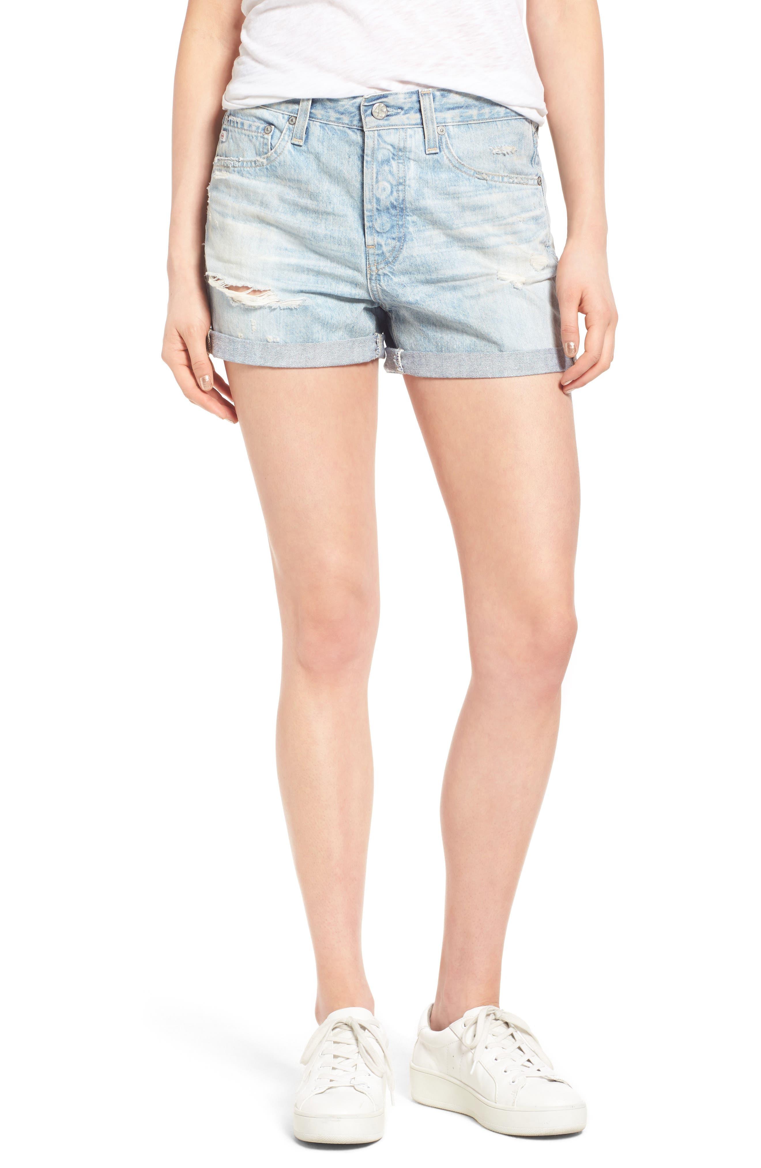 Main Image - AG 'Alex' High Rise Cuffed Denim Shorts (22 Years Fearless)