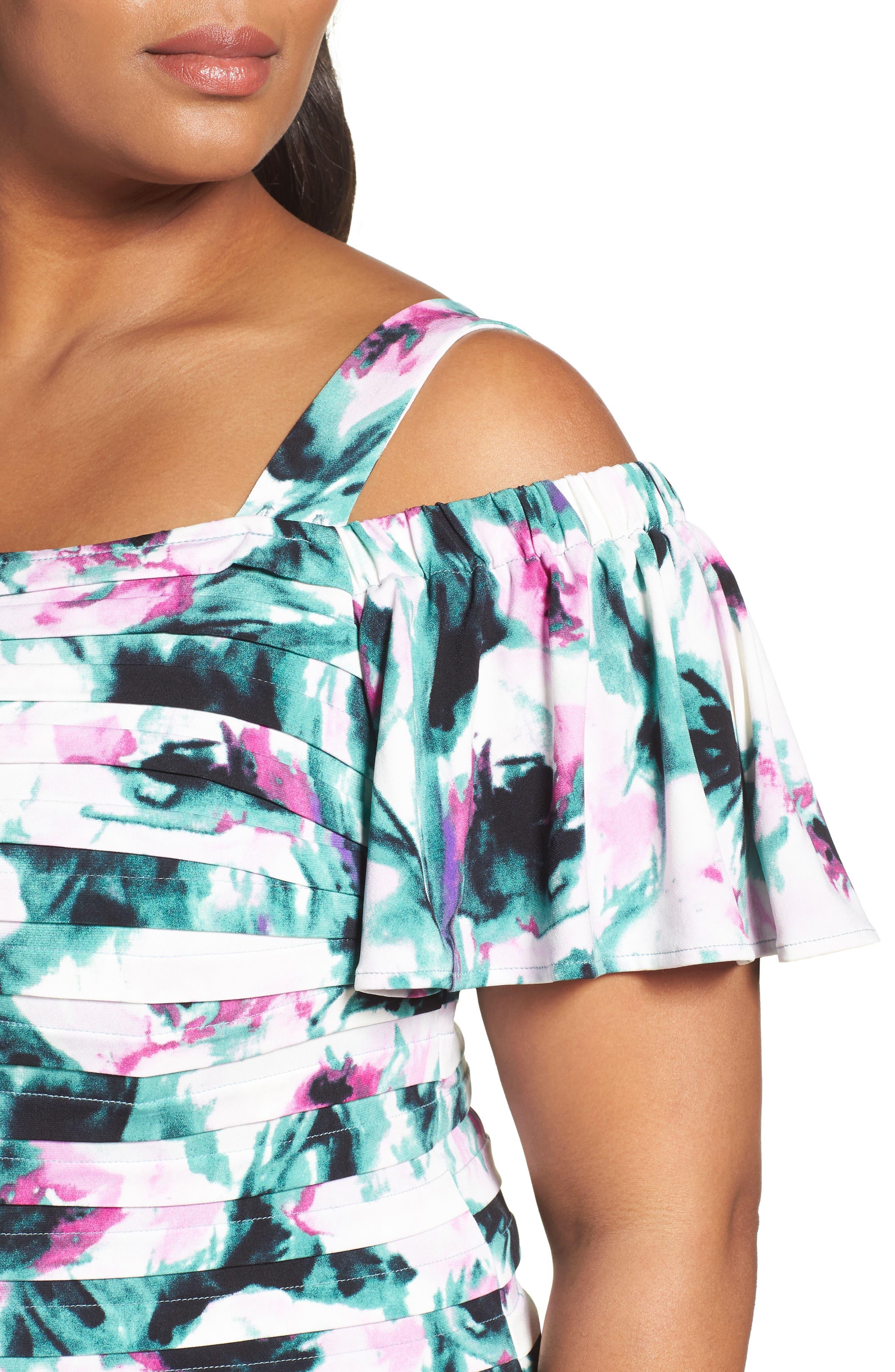 Cold Shoulder Shutter Pleat Sheath Dress,                             Alternate thumbnail 4, color,                             Multi
