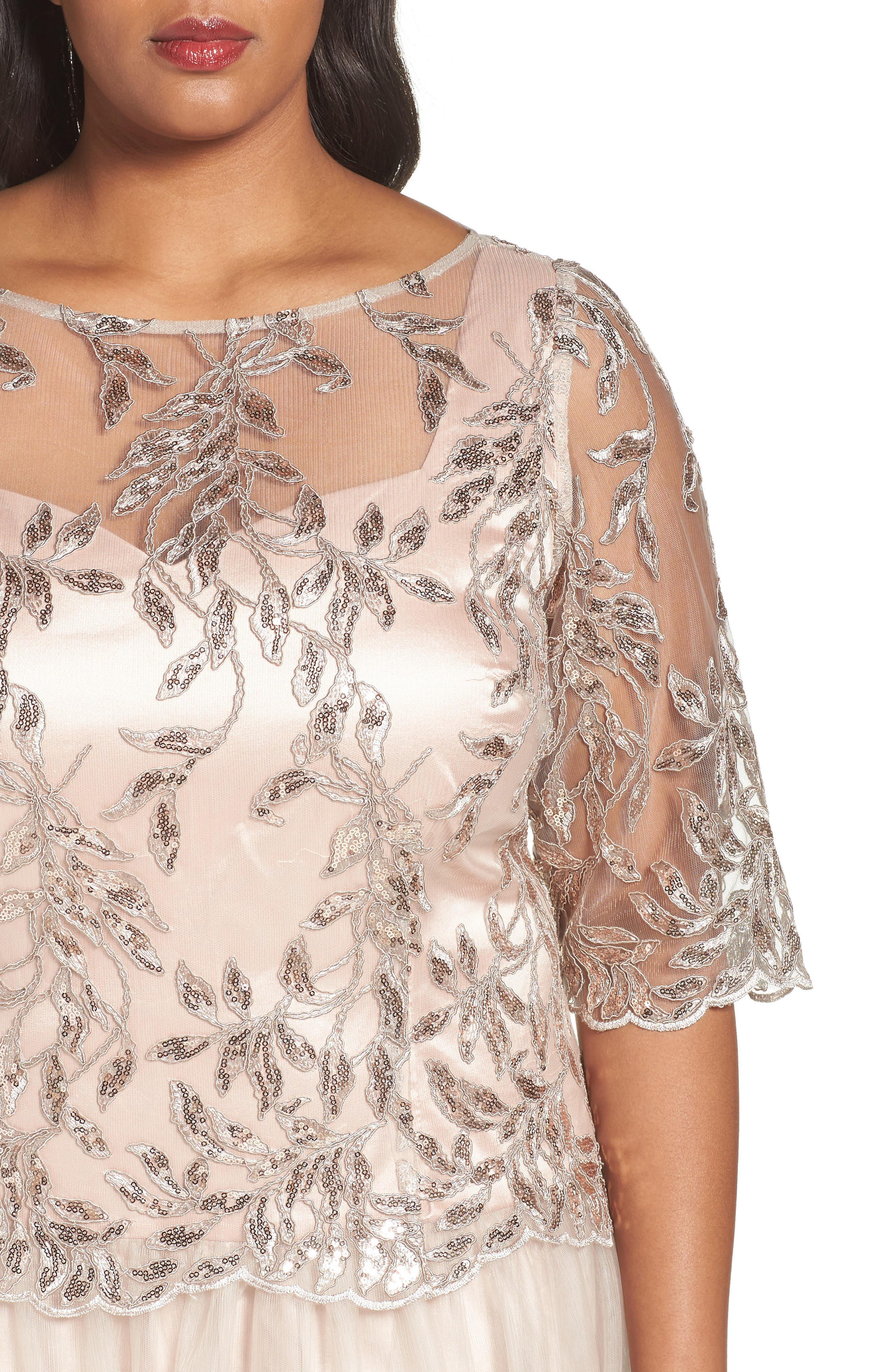 Embellished Mesh Gown,                             Alternate thumbnail 4, color,                             Champagne