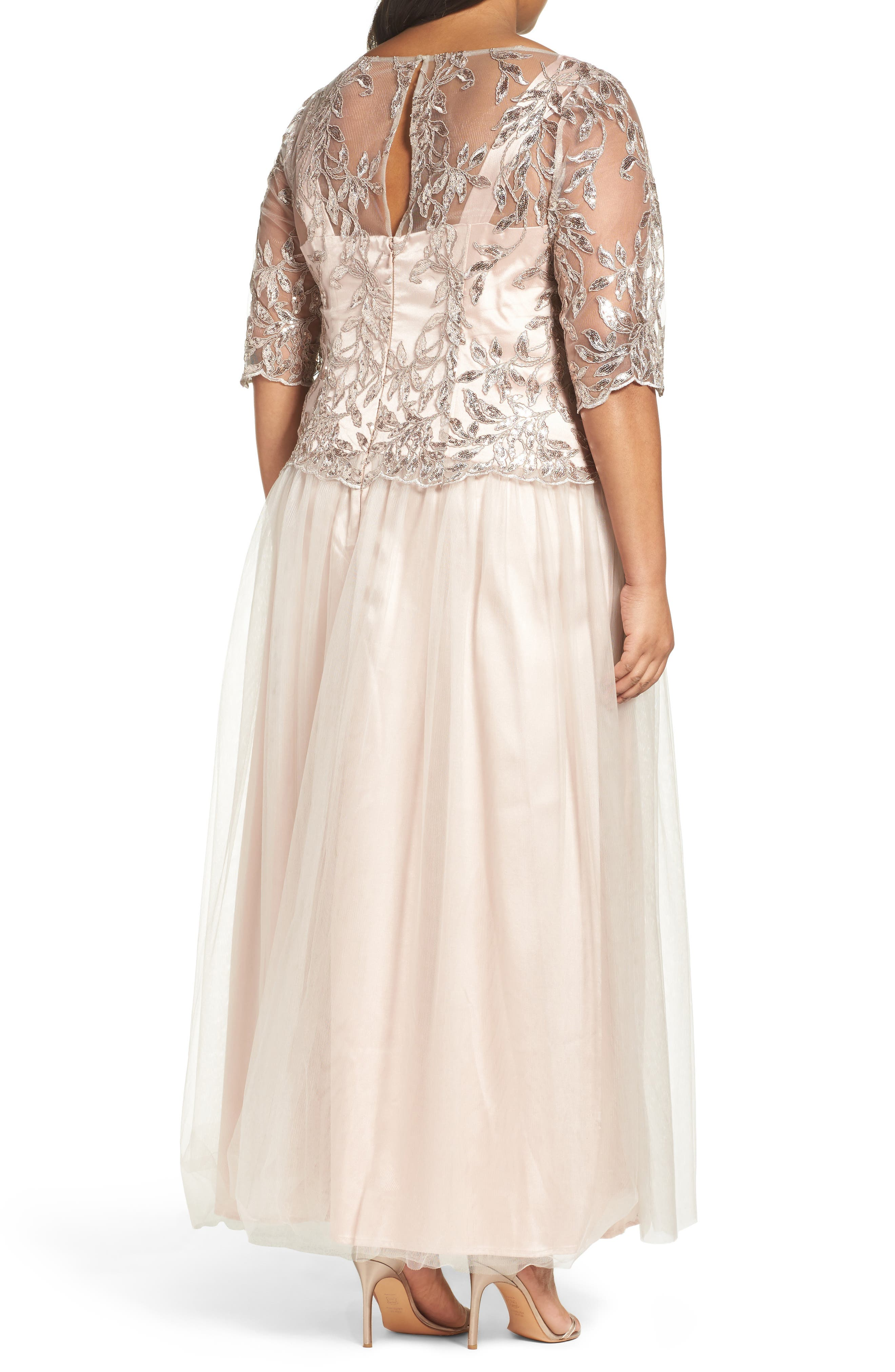 Embellished Mesh Gown,                             Alternate thumbnail 2, color,                             Champagne
