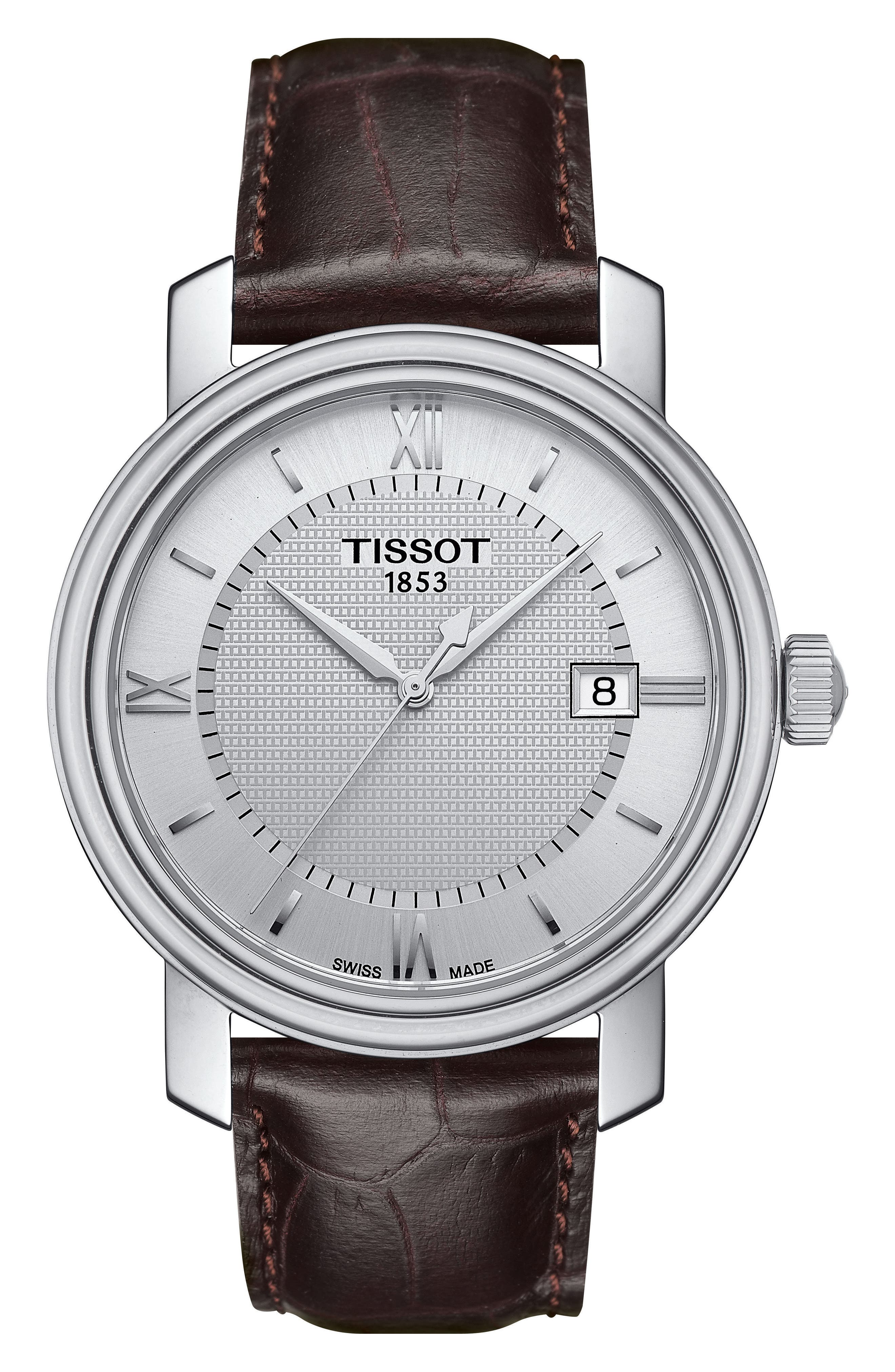 Bridgeport Leather Strap Watch, 40mm,                             Main thumbnail 1, color,                             Brown/ Silver