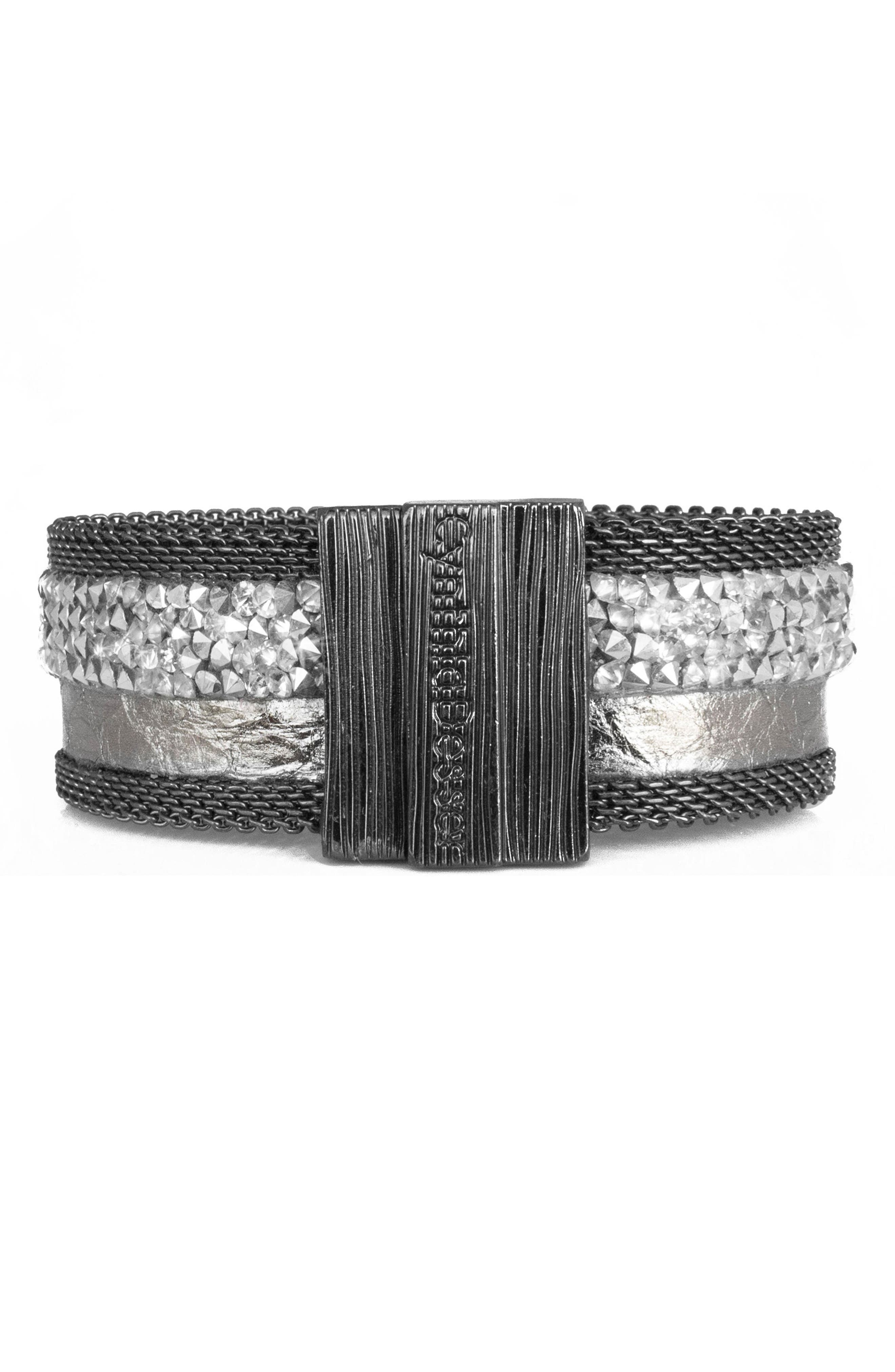 Genuine Snakeskin Cuff,                             Alternate thumbnail 2, color,                             Silver Mix