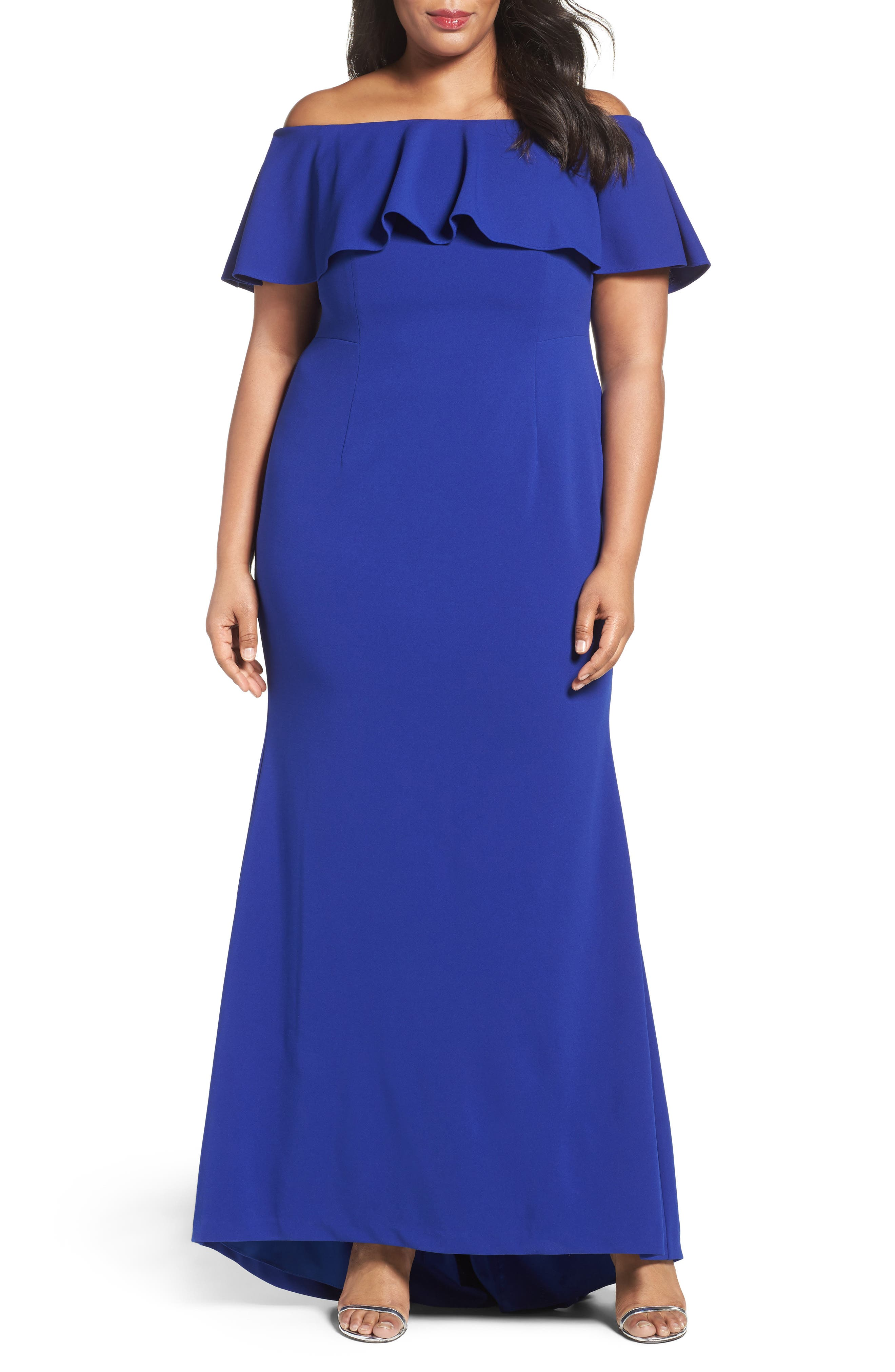 Adrianna Papell Off the Shoulder Crepe Knit Mermaid Gown (Plus Size)