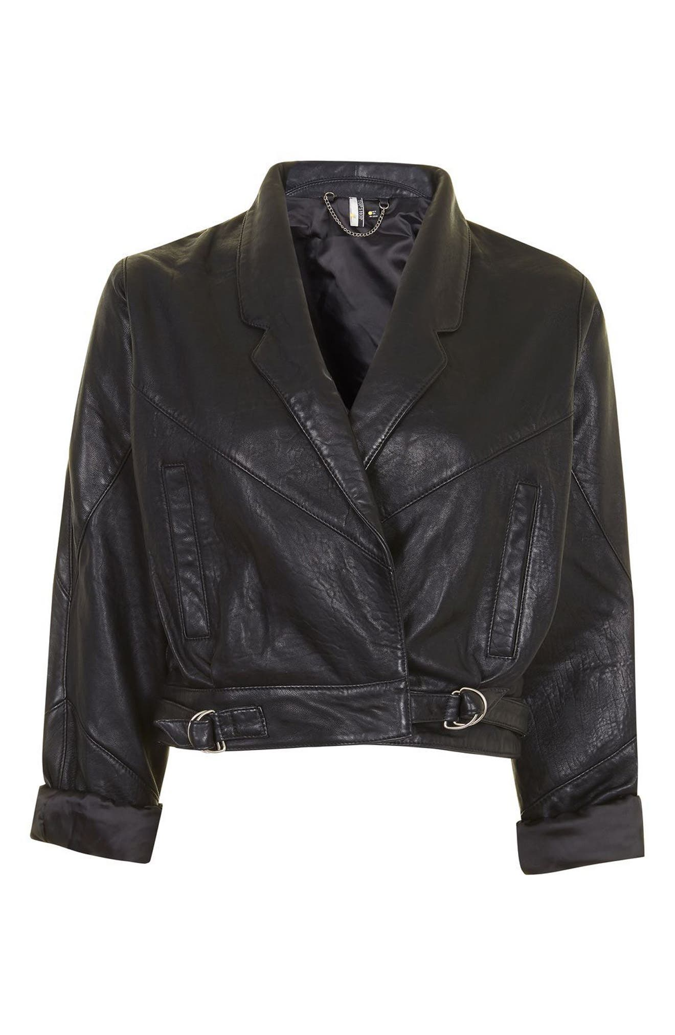 Alternate Image 5  - Topshop Maggie Cropped Leather Jacket