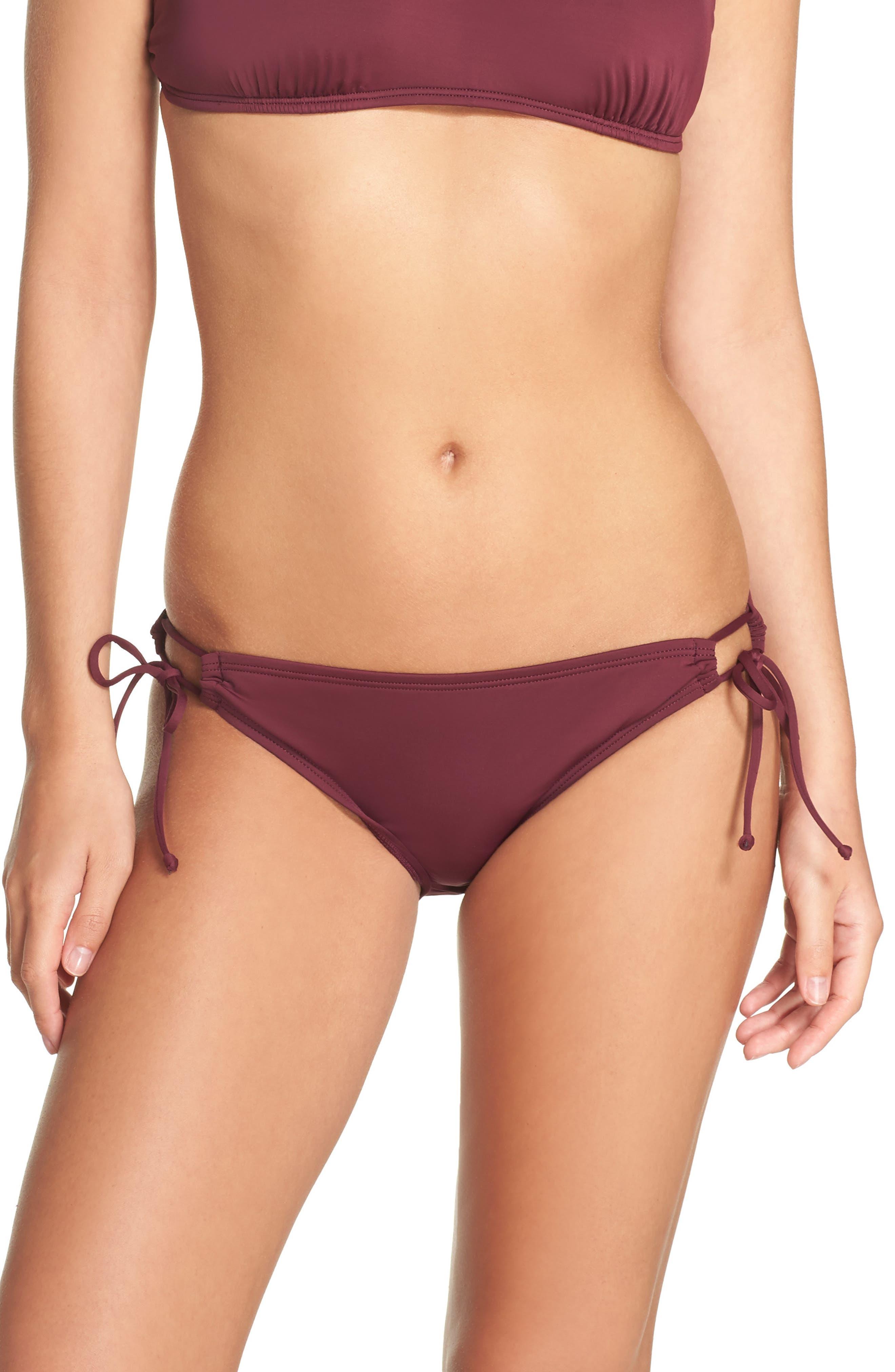 Side Tie Bikini Bottoms,                         Main,                         color, Burgundy