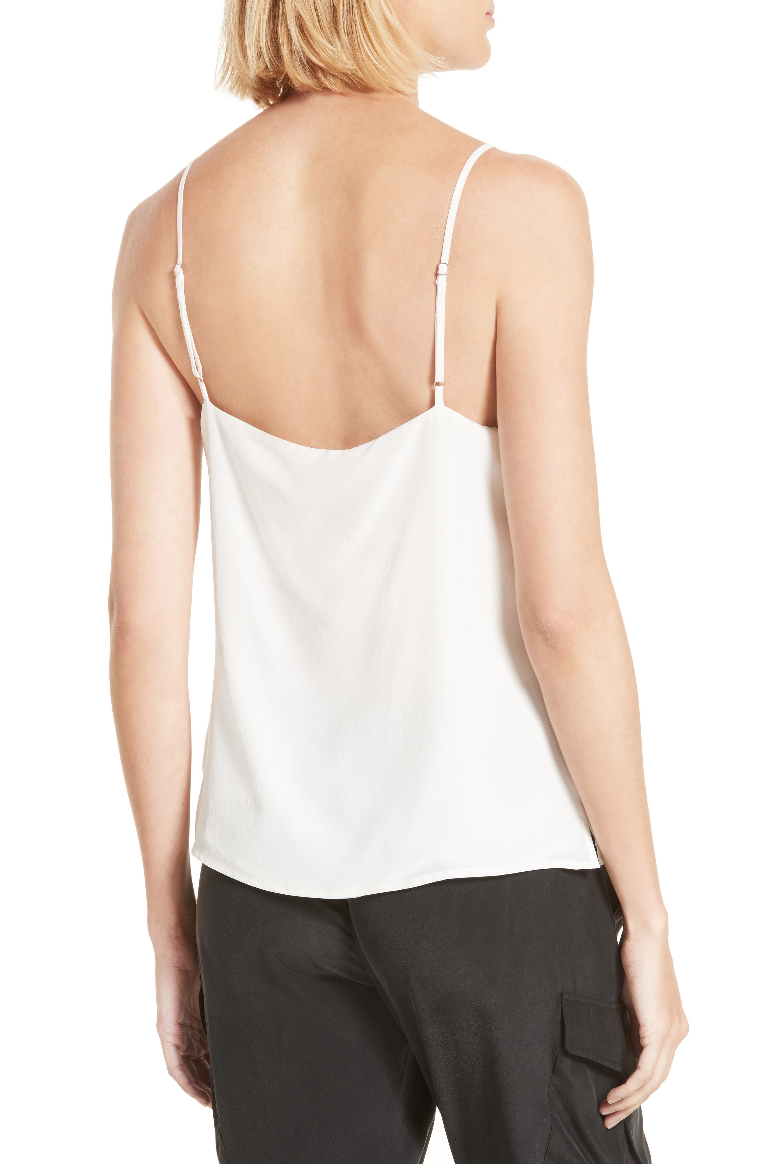 Lia Lace Trim Silk Camisole,                             Alternate thumbnail 2, color,                             Ivory/ Black