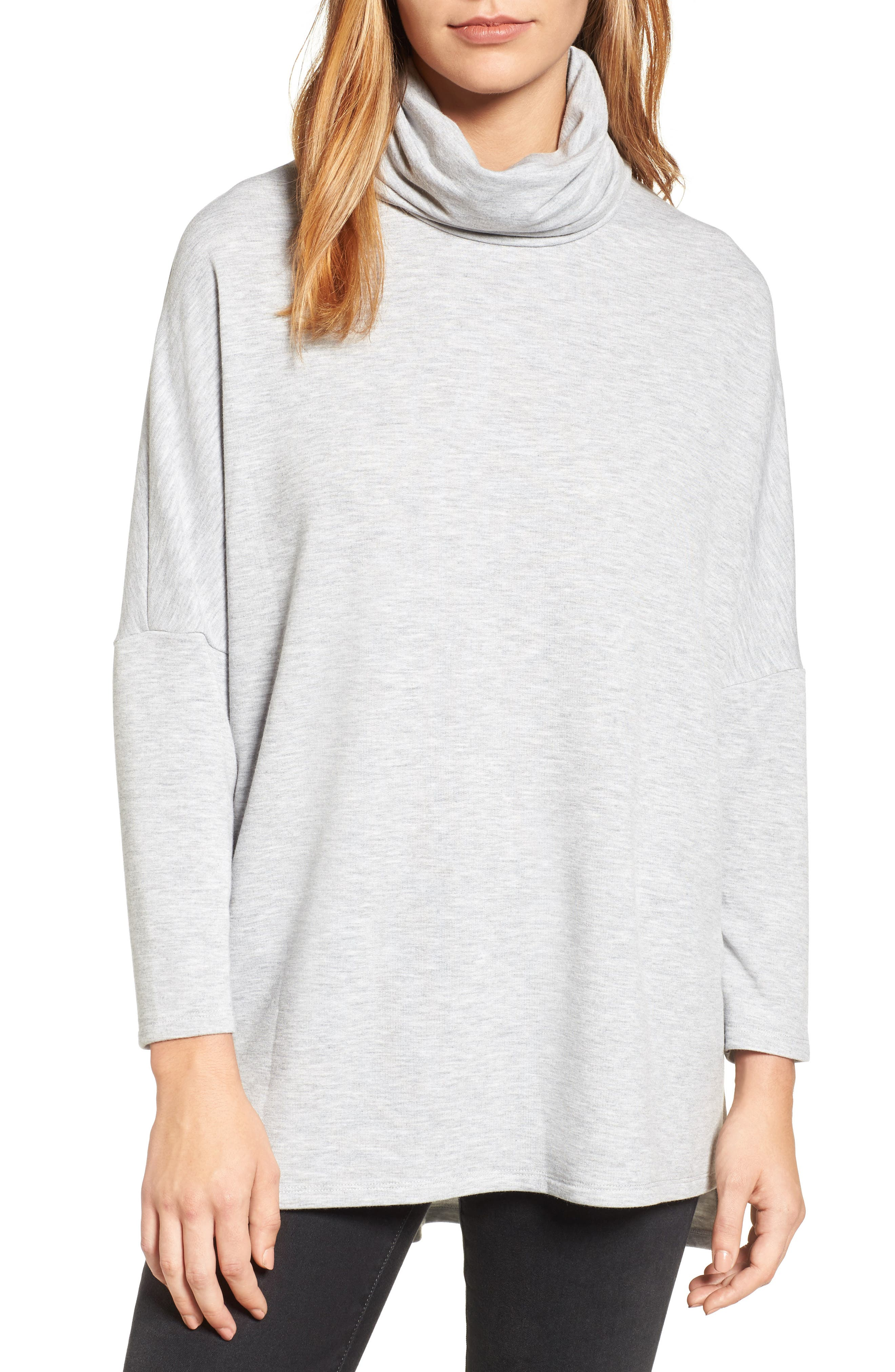 High/Low Tunic,                             Main thumbnail 1, color,                             Heather Grey