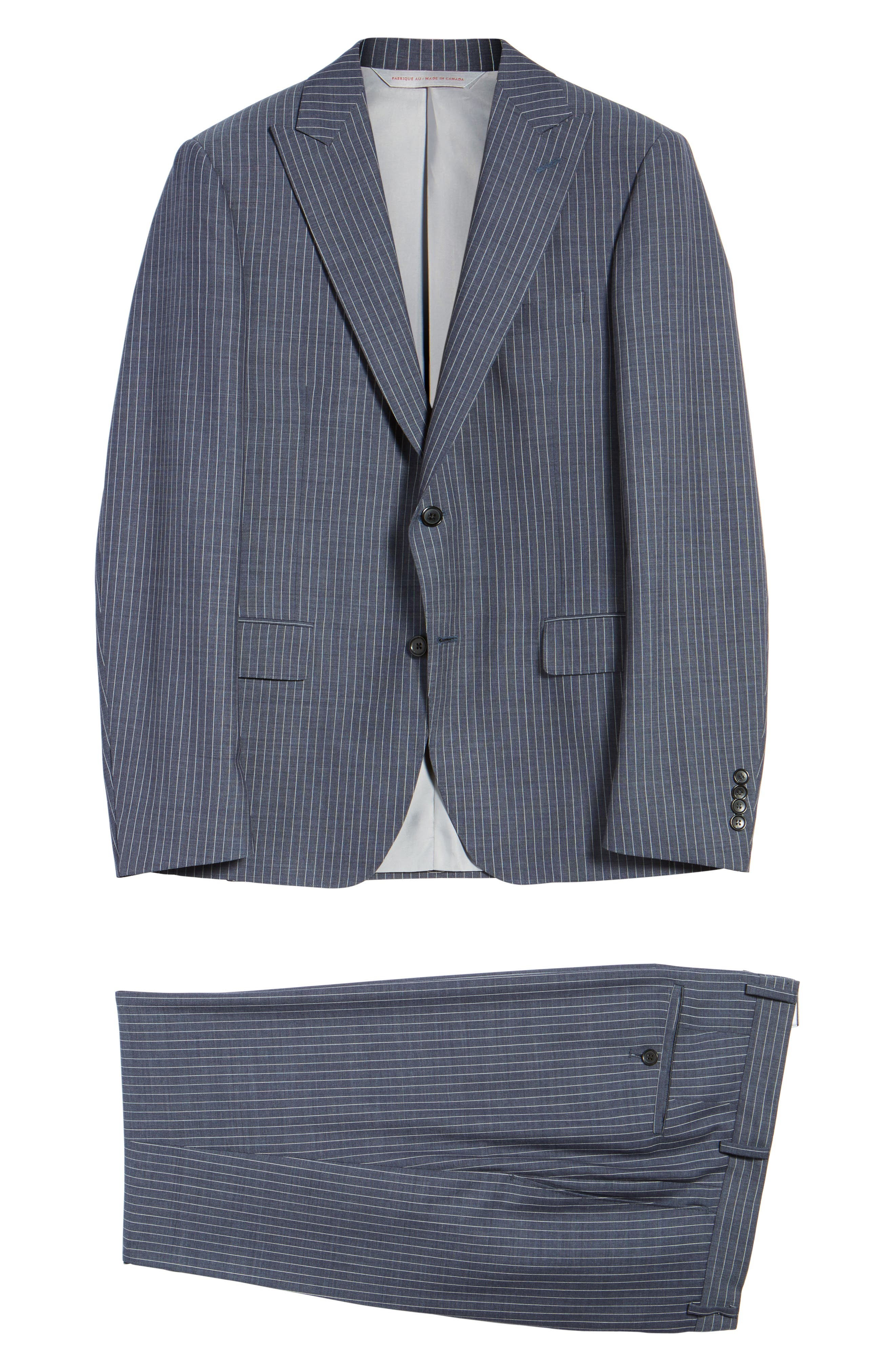 Beckett Classic Fit Stripe Wool Suit,                             Alternate thumbnail 7, color,                             Light Blue