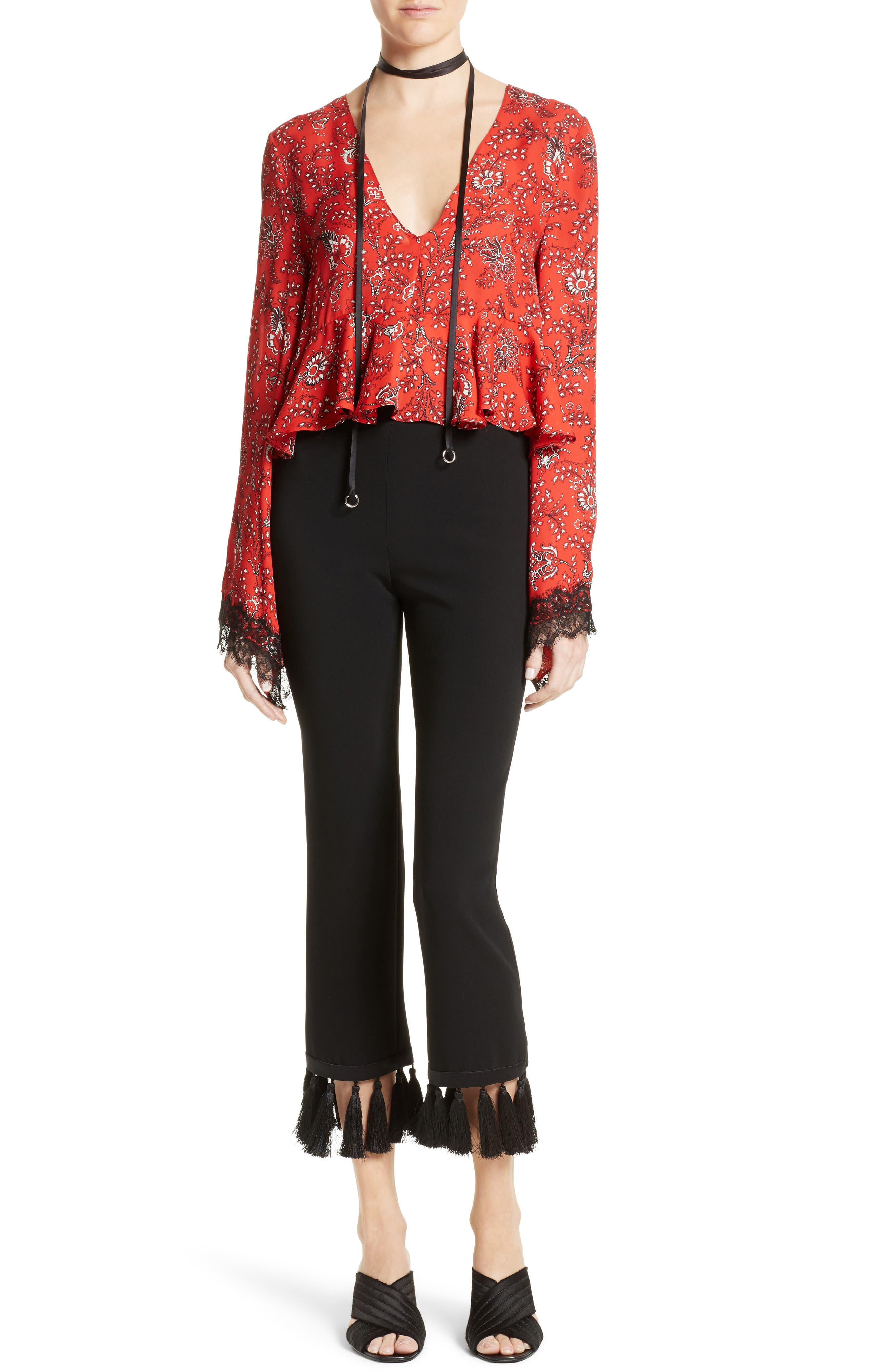 Jemma Print Silk Top,                             Alternate thumbnail 2, color,                             Vermillion Multi