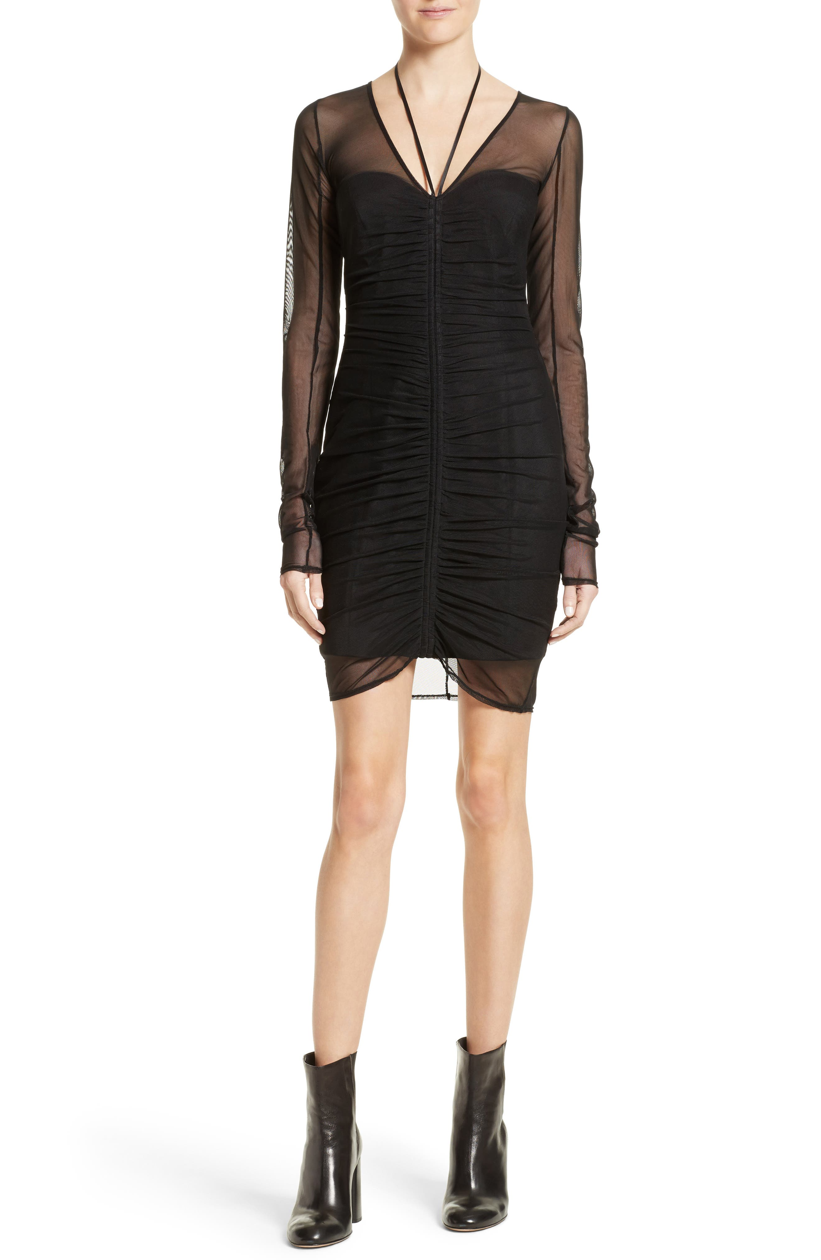 Grant Mesh Dress,                         Main,                         color, Black