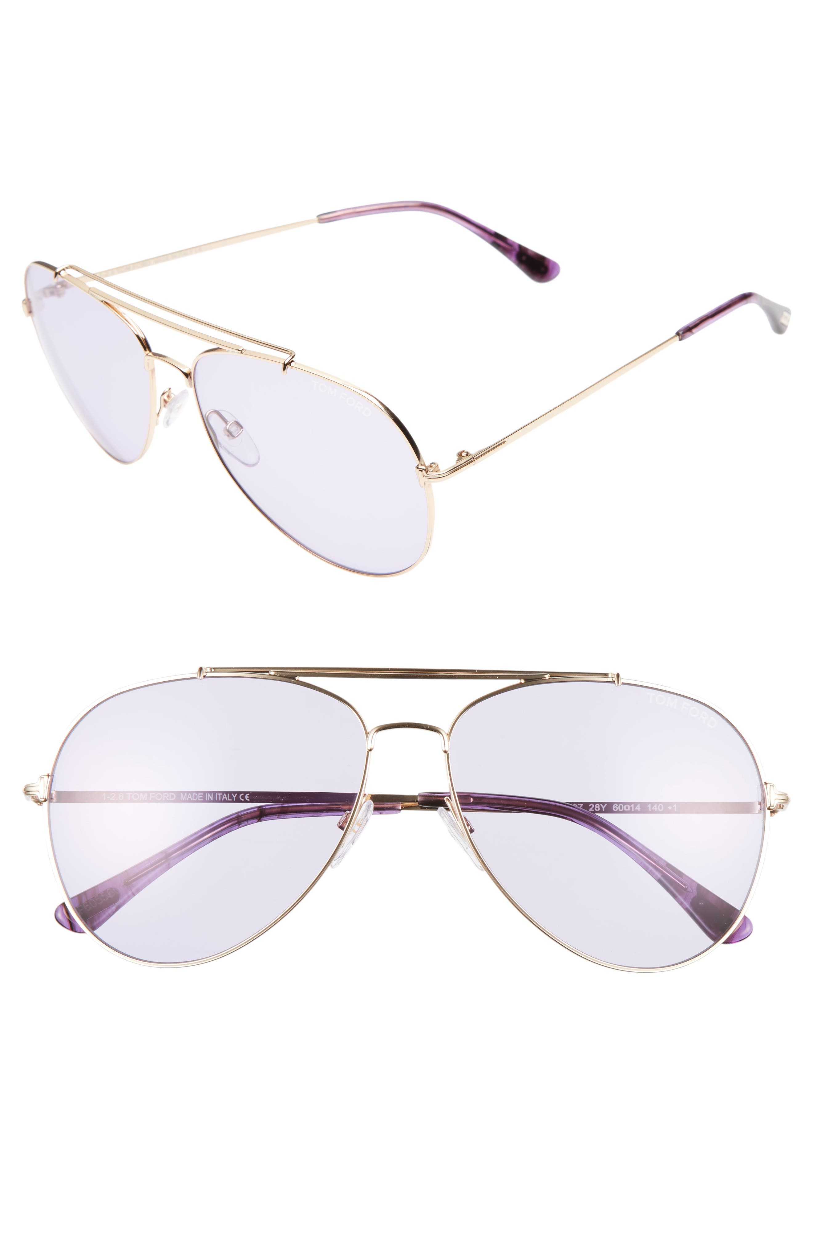 Alternate Image 1 Selected - Tom Ford Indiana 60mm Aviator Sunglasses