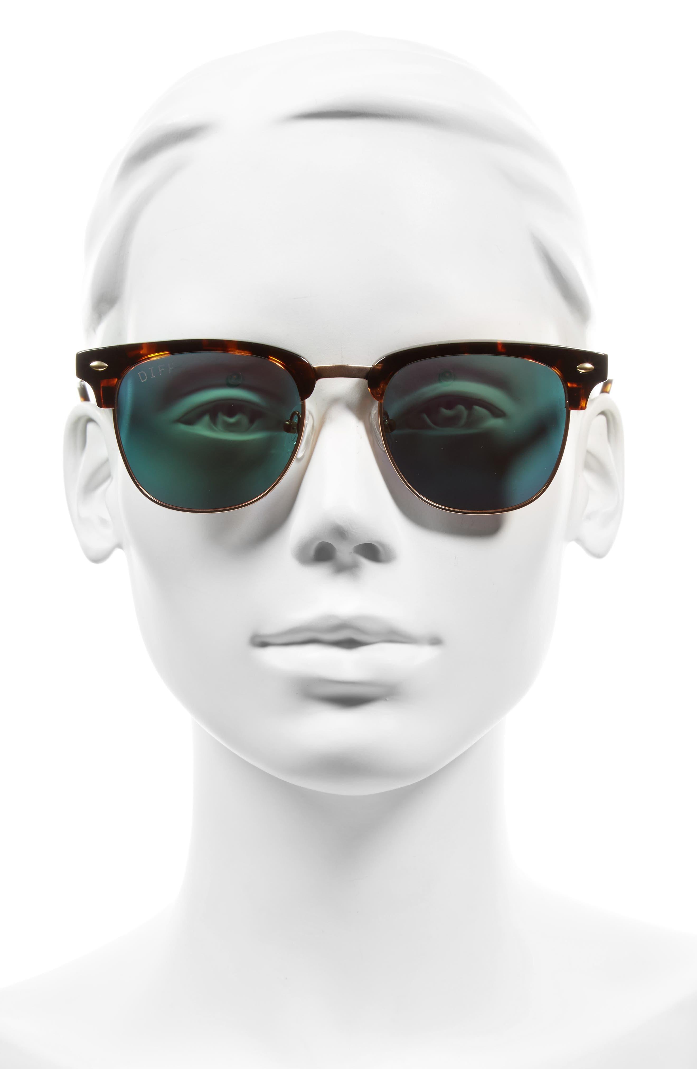 Barry 51mm Polarized Retro Sunglasses,                             Alternate thumbnail 2, color,                             Tortoise/ Pink