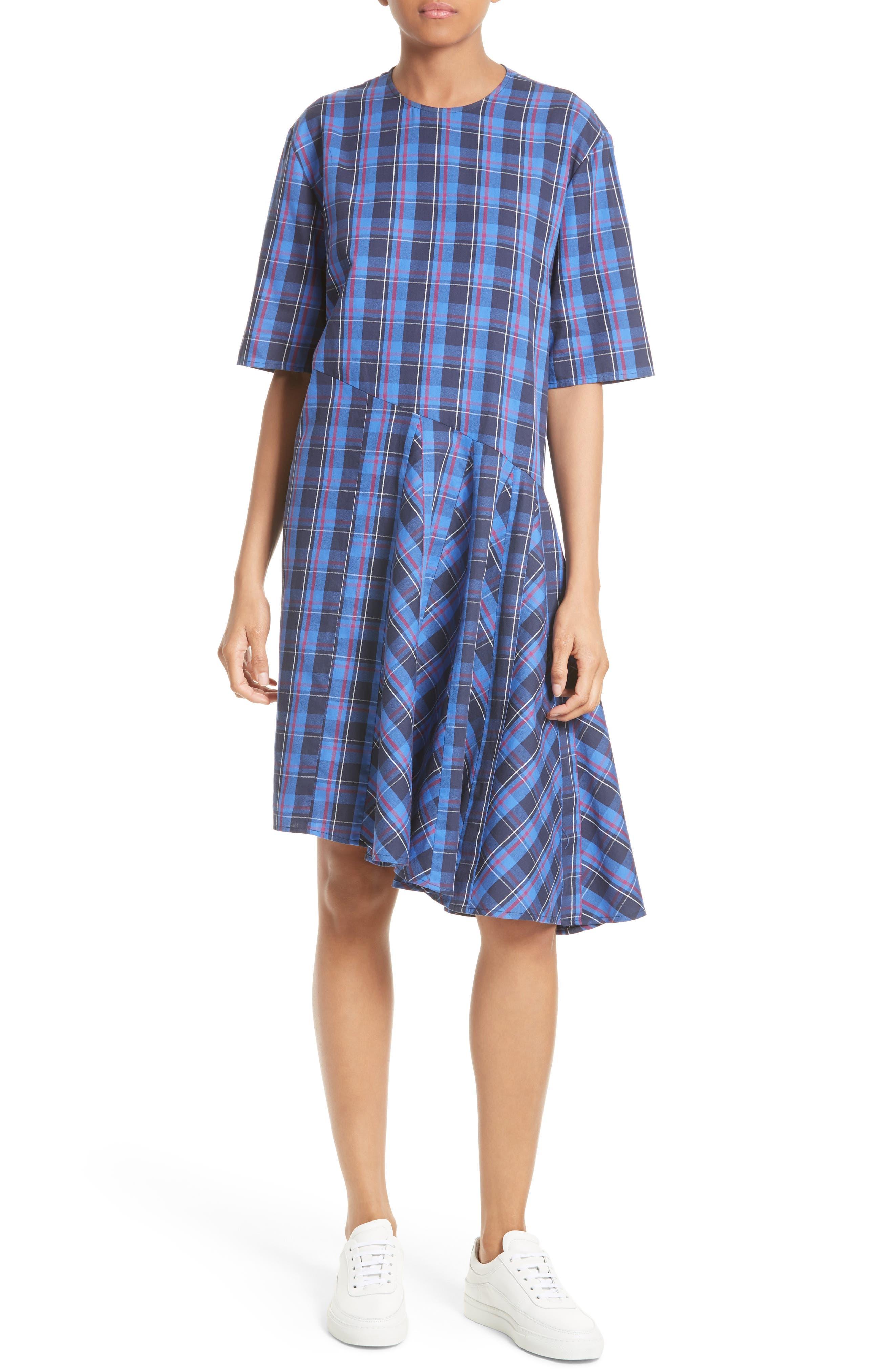 Public School Rima Asymmetrical Plaid Cotton Dress