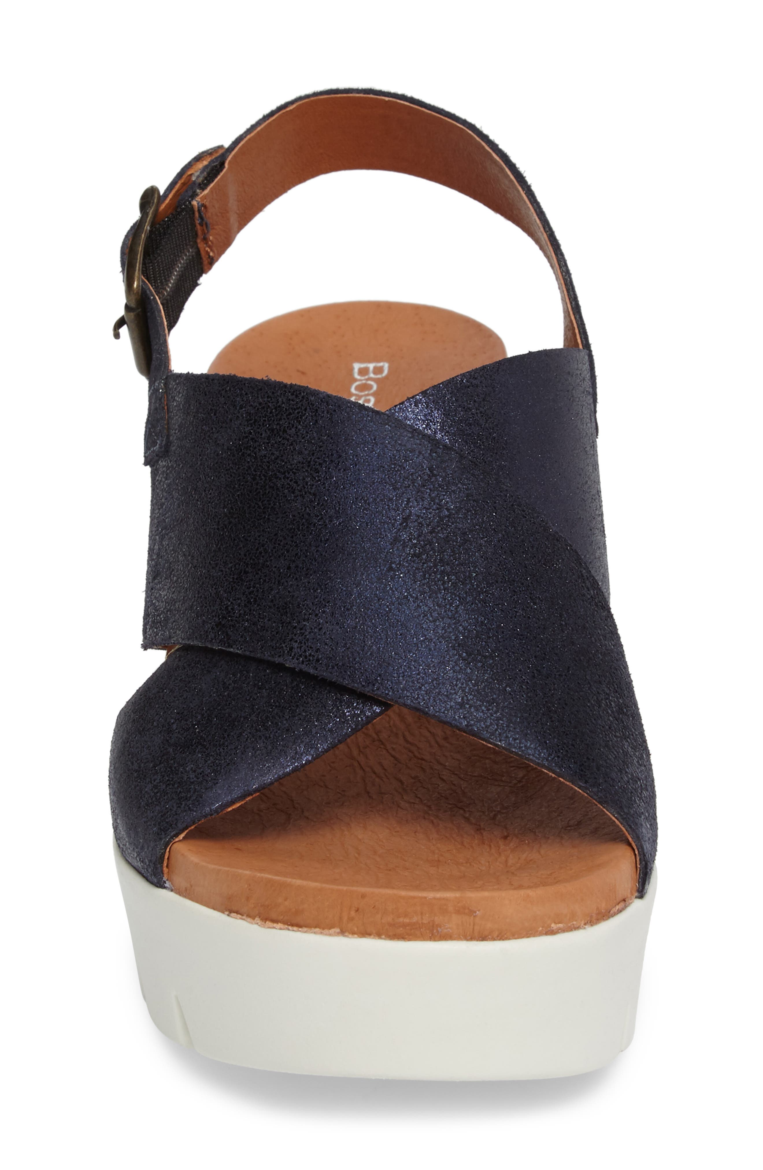 Payton Platform Wedge Sandal,                             Alternate thumbnail 4, color,                             Navy Glitter Suede