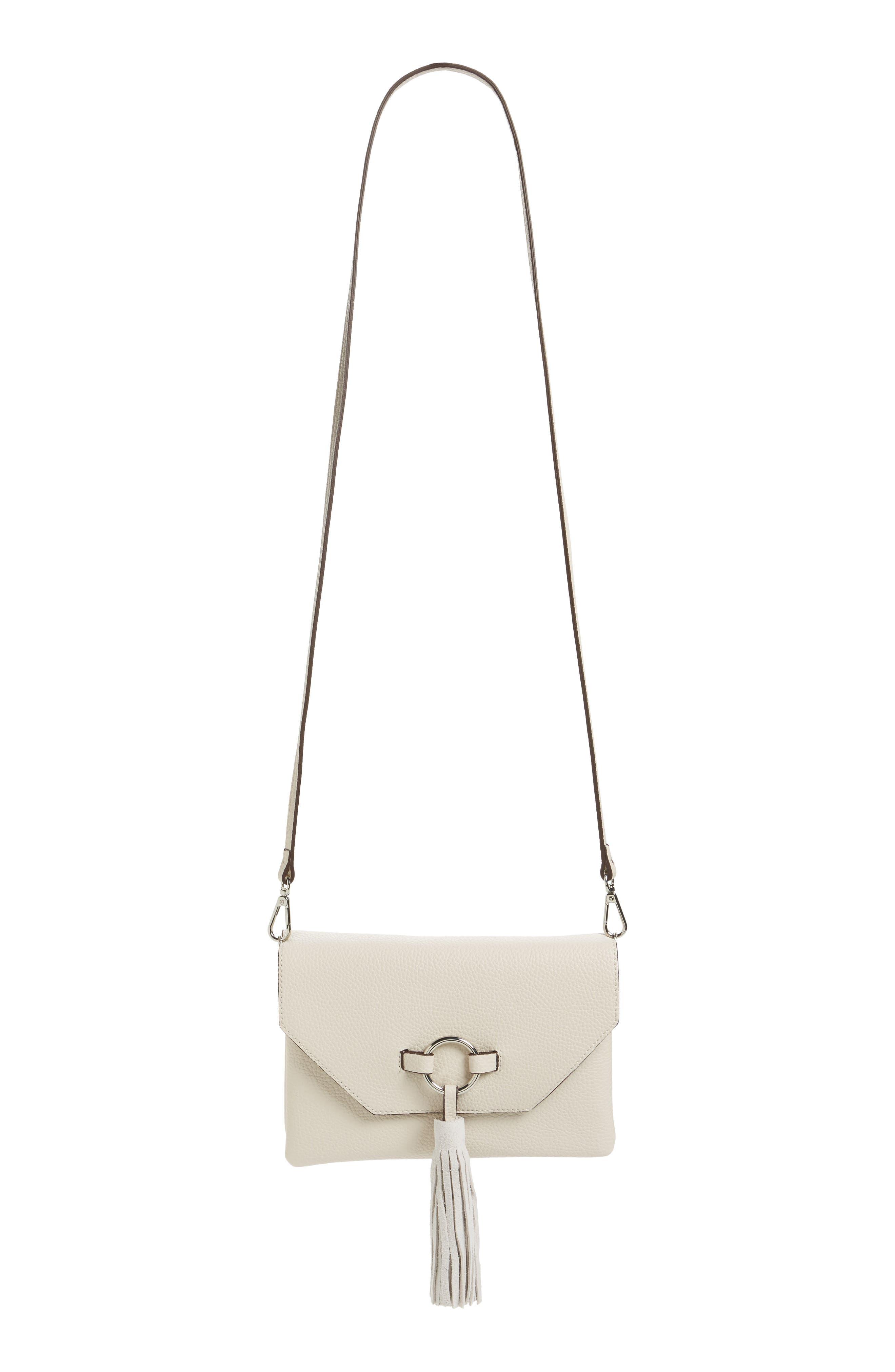 STREET LEVEL Ring Tassel Convertible Faux Leather Crossbody Bag