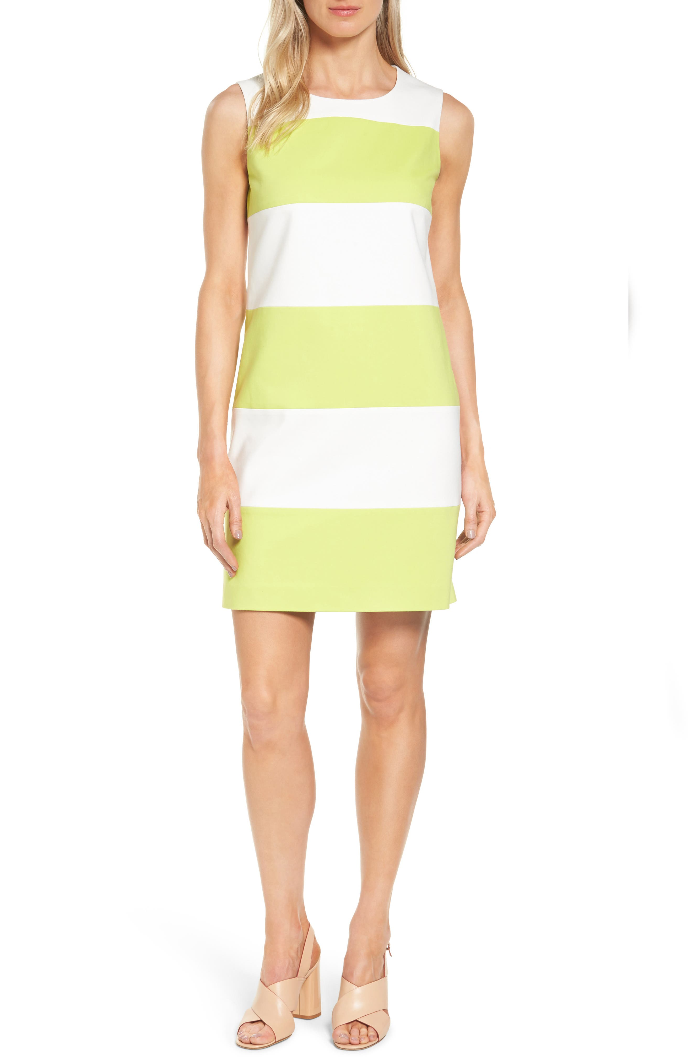 Colorblock Shift Dress,                             Main thumbnail 1, color,                             White/ Sprout