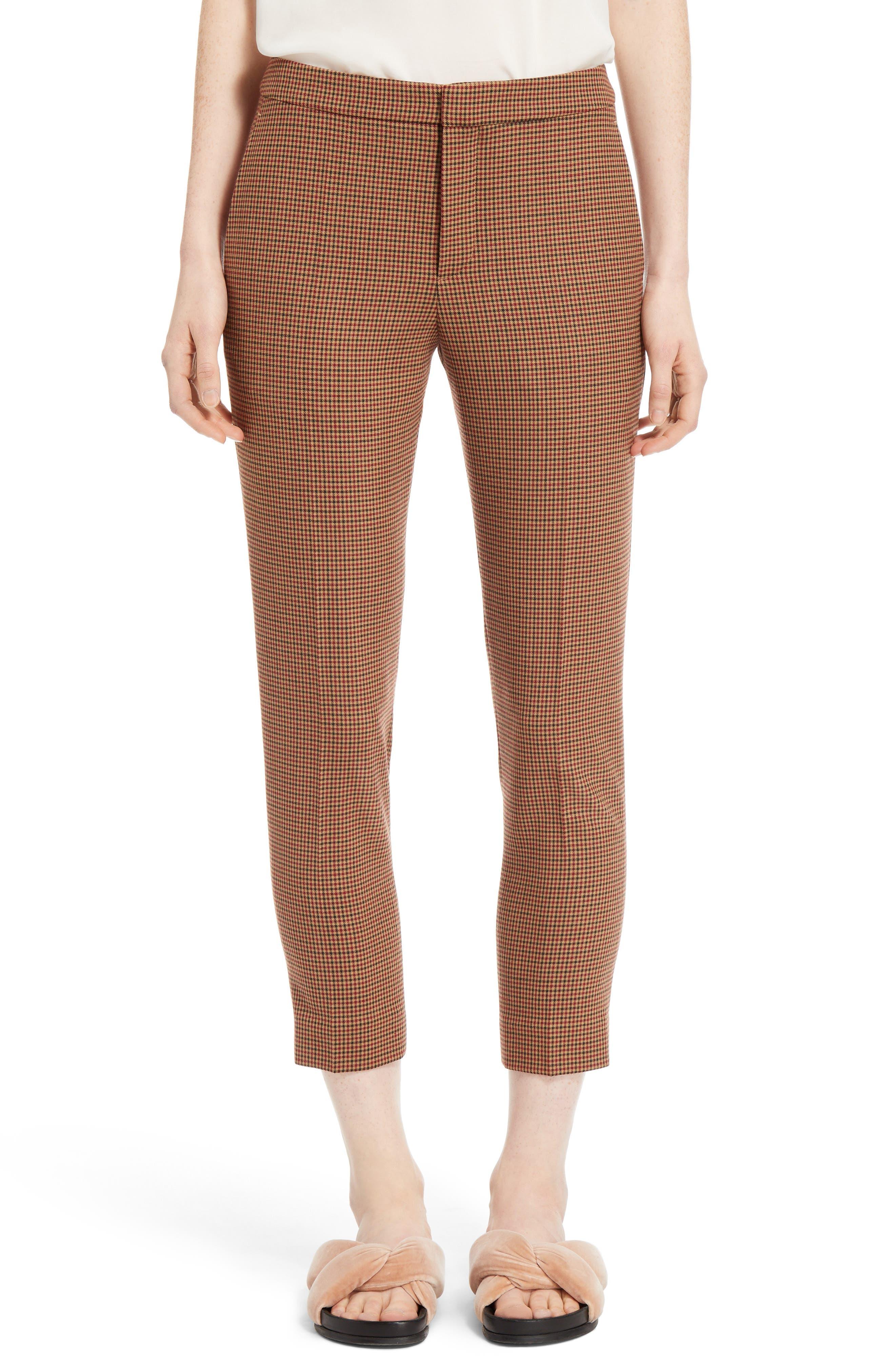 Check Crop Pants,                         Main,                         color, Multicolor Dark