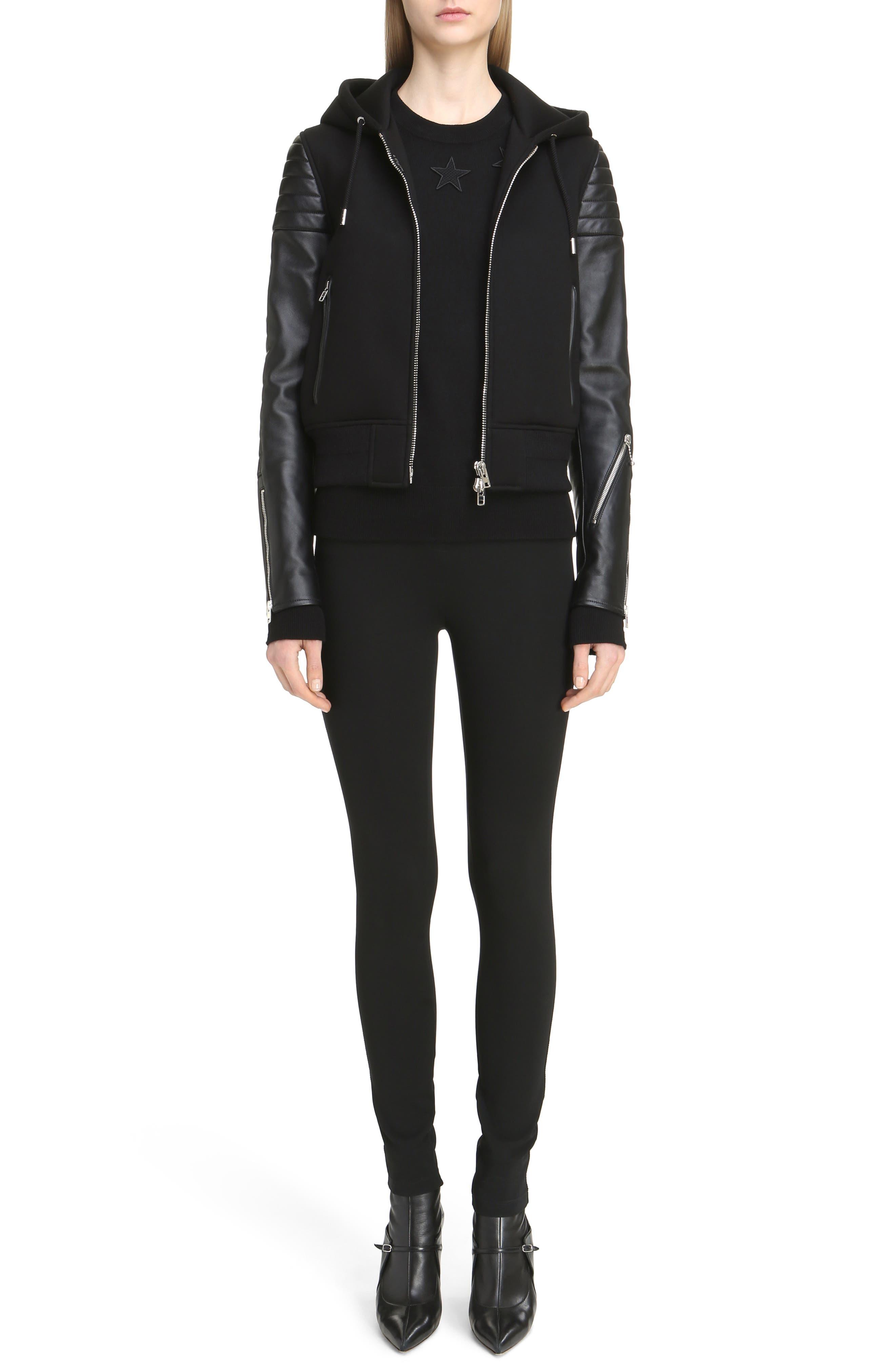 Main Image - Givenchy Neoprene & Leather Hooded Moto Jacket