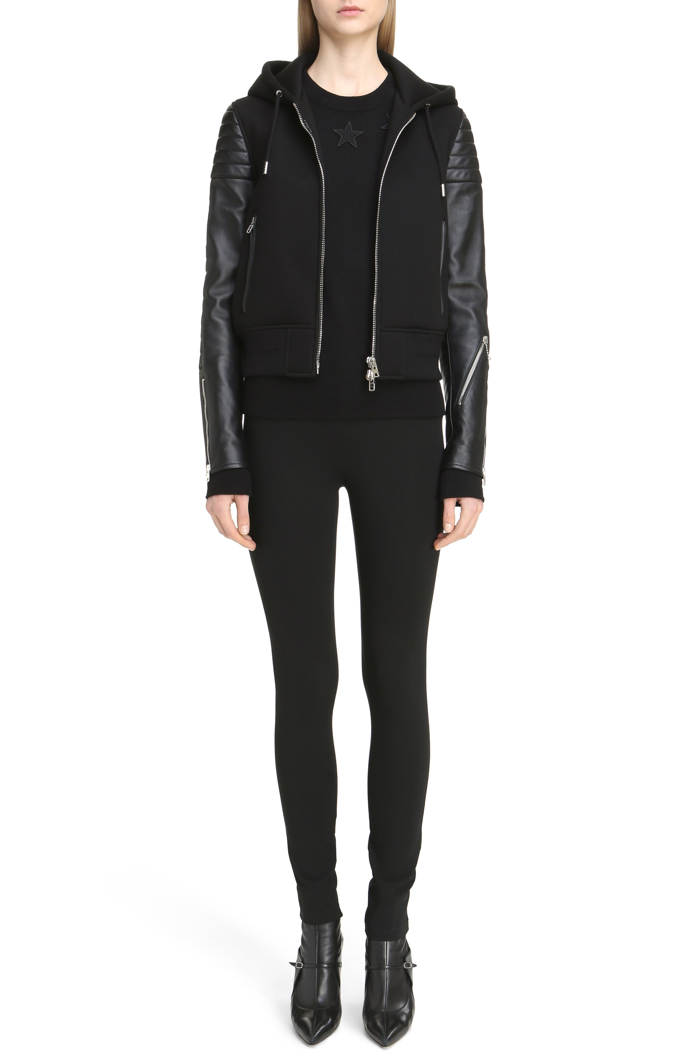 Givenchy Neoprene & Leather Hooded Moto Jacket