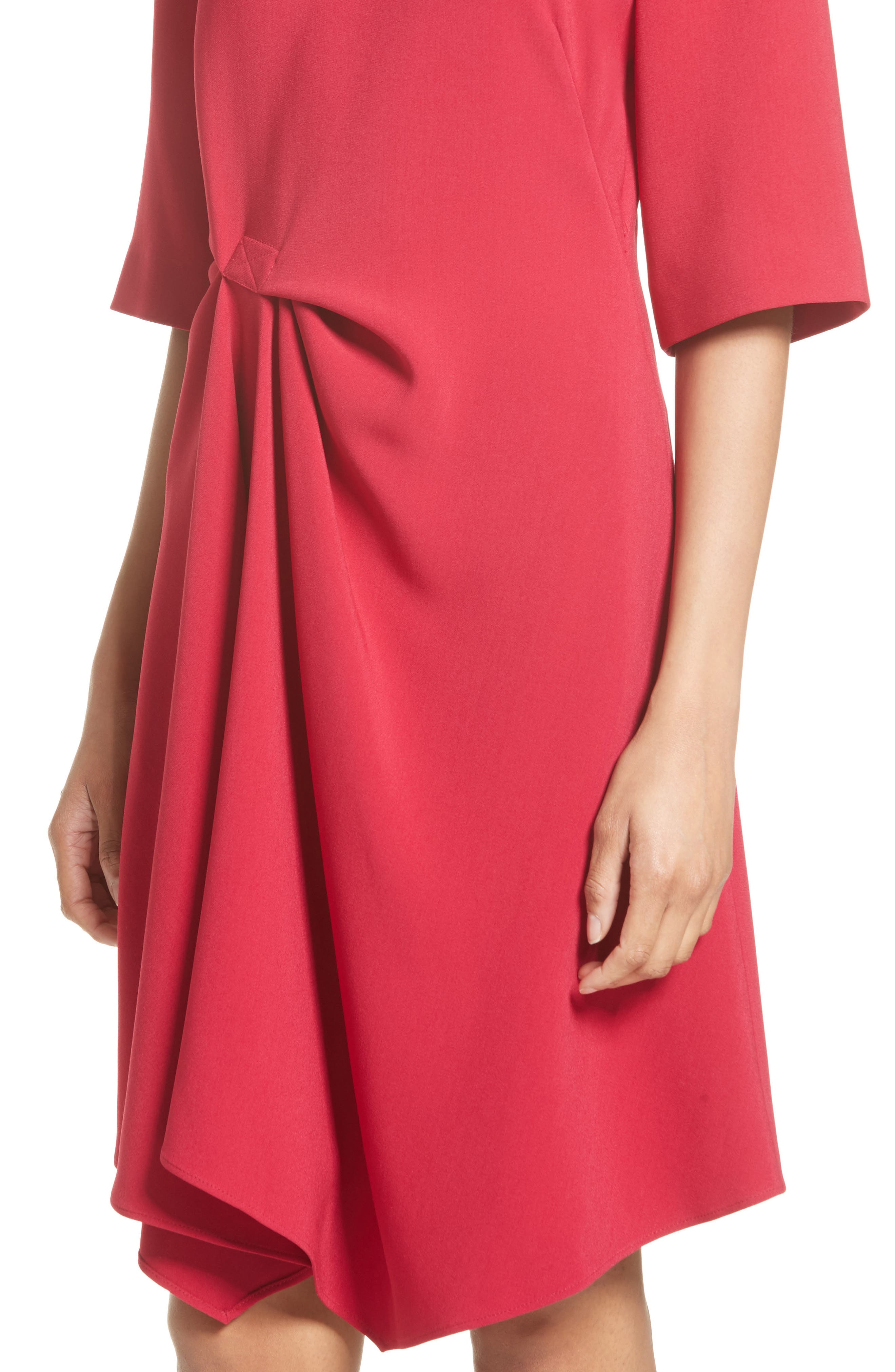 Draped Stretch Cady Dress,                             Alternate thumbnail 6, color,                             Hot Pink