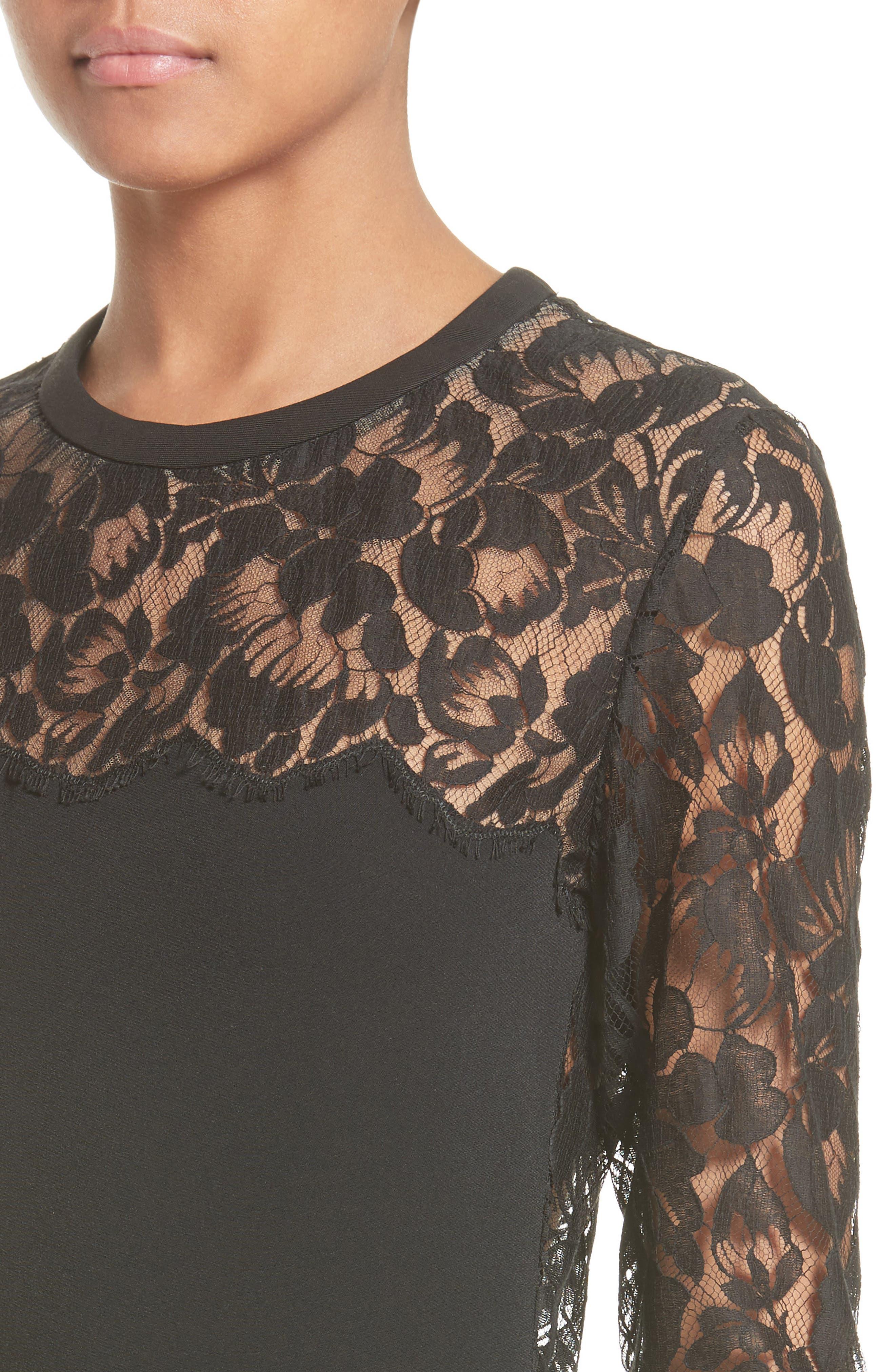 Lace Illusion Sheath Dress,                             Alternate thumbnail 7, color,                             Black