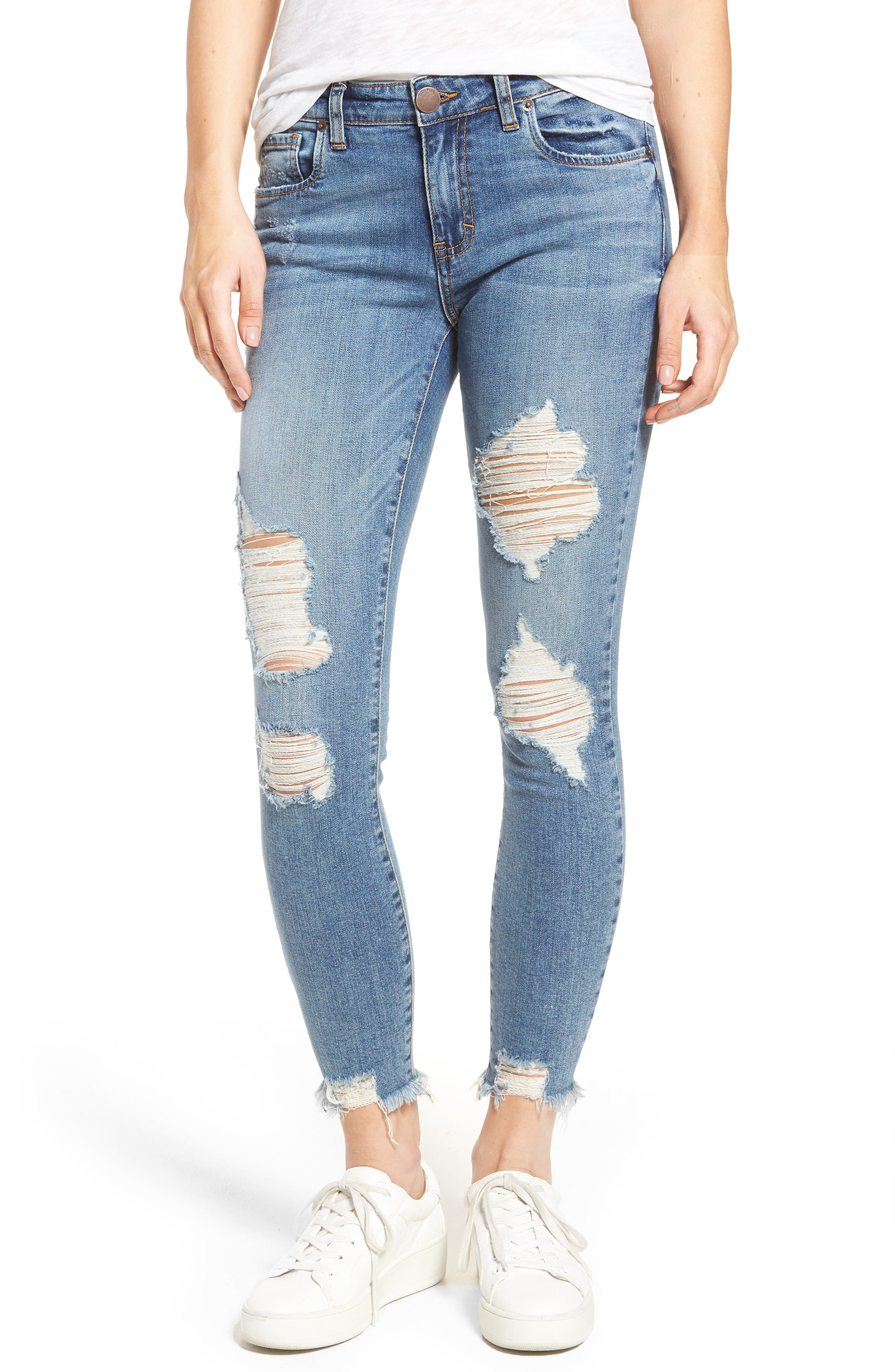 Harper Ripped Ankle Skinny Jeans,                             Main thumbnail 1, color,                             Hfdom