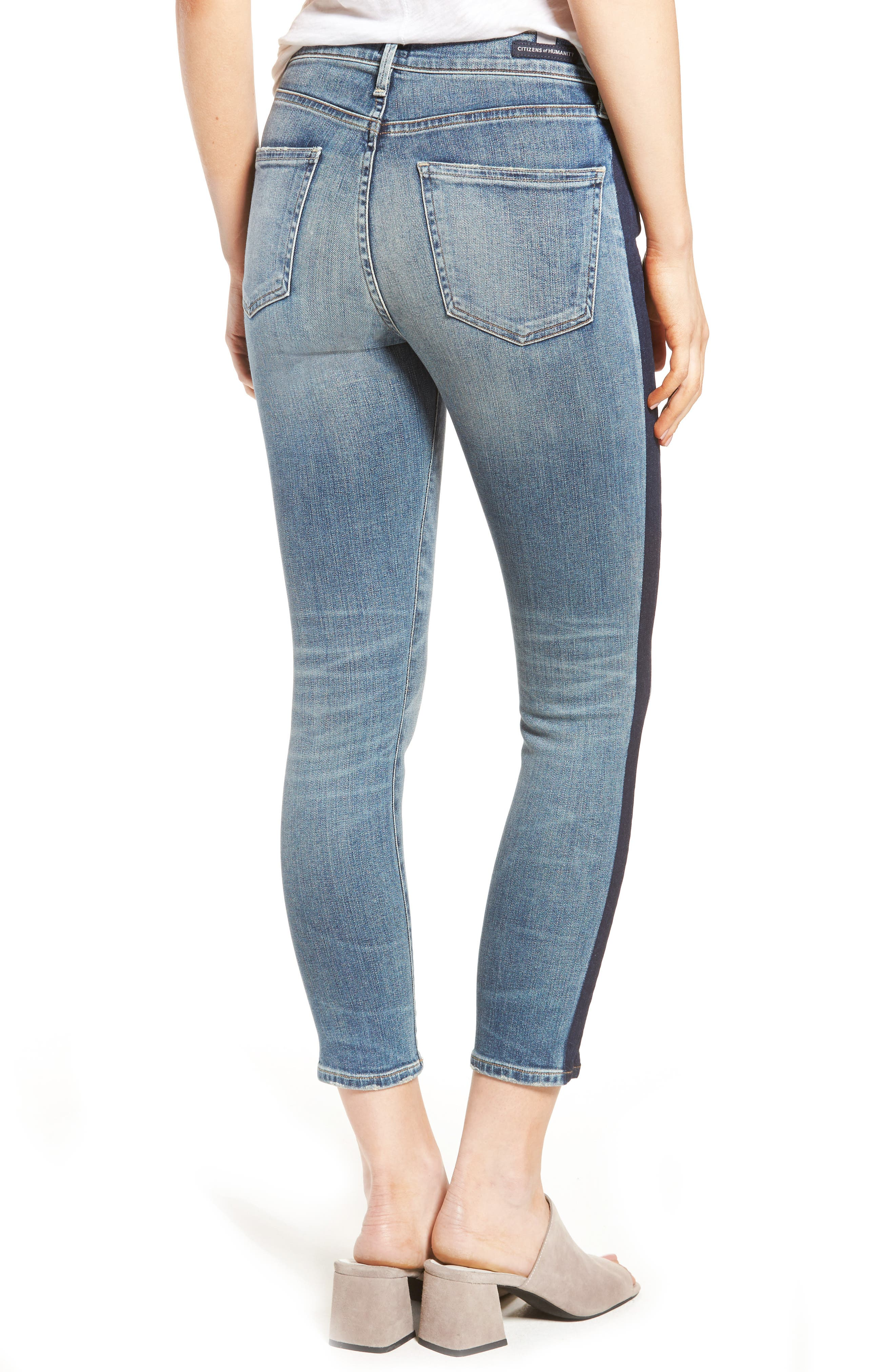 Alternate Image 2  - Citizens of Humanity Rocket High Waist Crop Skinny Jeans (Shadow Stripe)