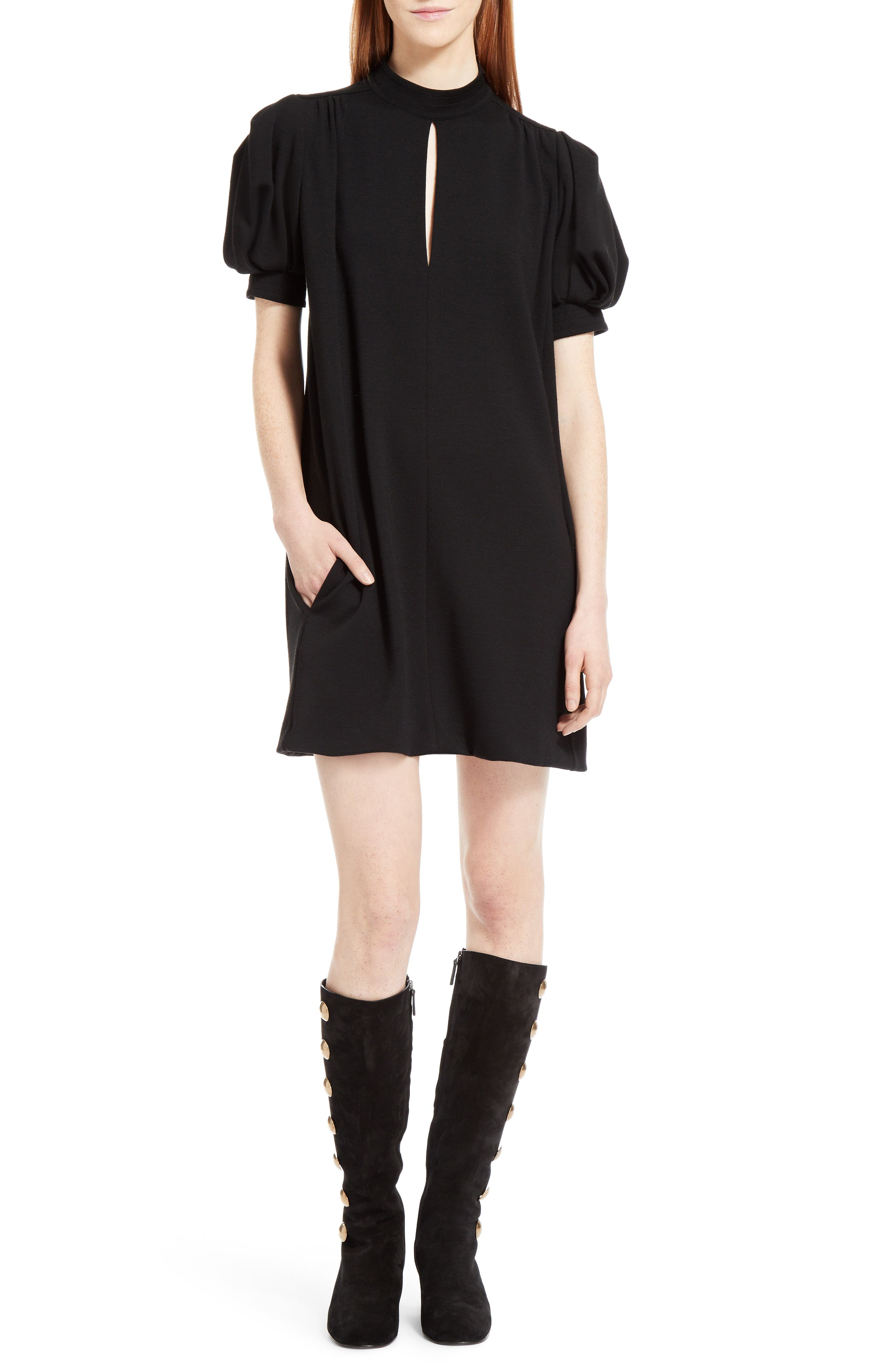 Wool Jersey Dress,                             Alternate thumbnail 6, color,                             Black